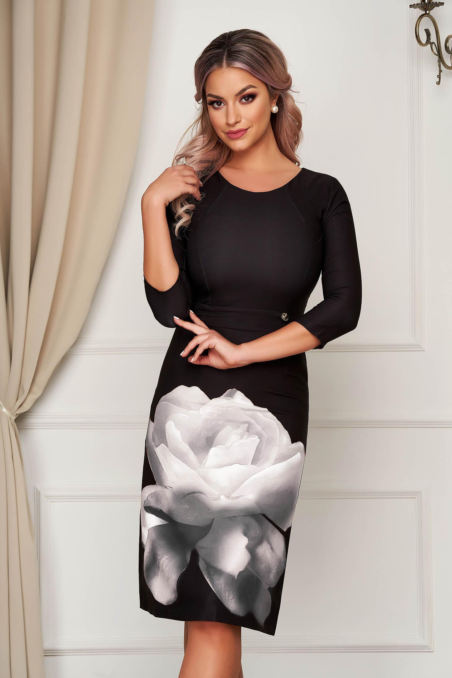 Fekete elegáns midi virágmintás ceruza ruha rugalmas anyagból kerekített dekoltázssal