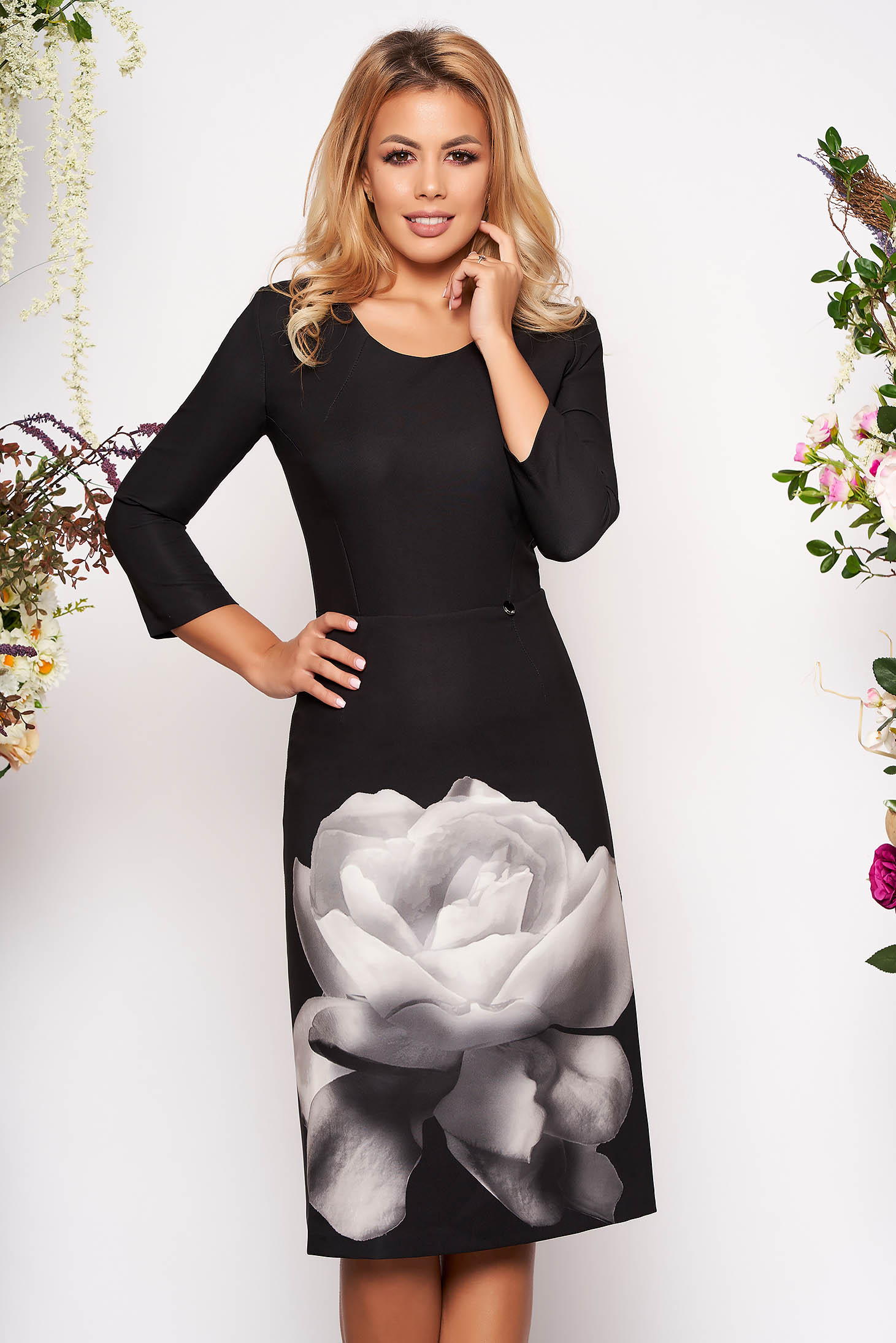 Rochie PrettyGirl neagra eleganta midi din material elastic