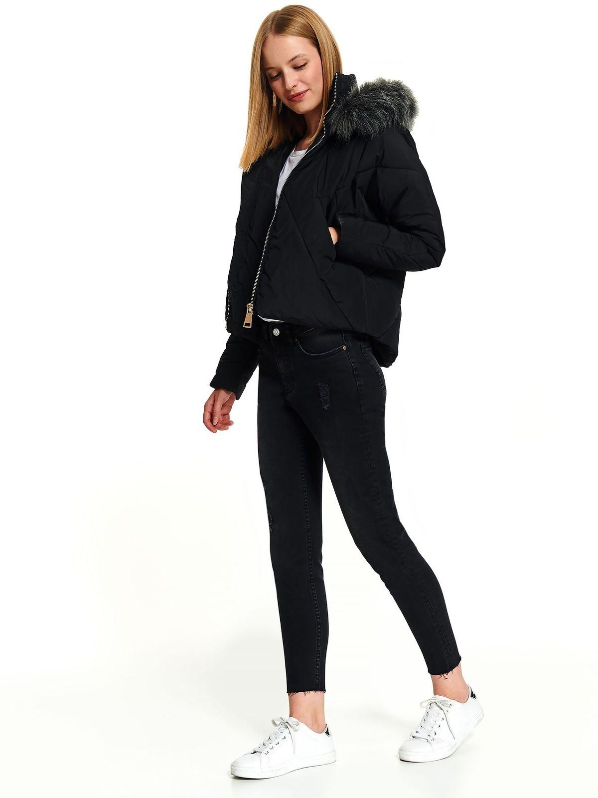 Black jacket casual short cut from slicker the jacket has hood and pockets