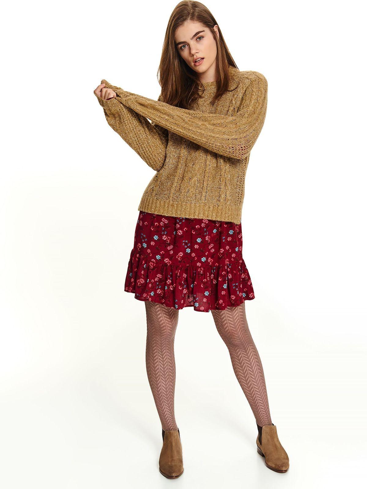 Pulover Top Secret piersica casual scurt tricotat cu croi larg cu maneci lungi si decolteu la baza gatului