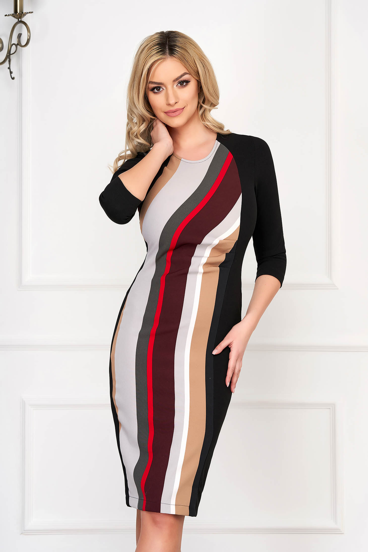 StarShinerS black office midi pencil dress 3/4 sleeve slightly elastic fabric with stripes