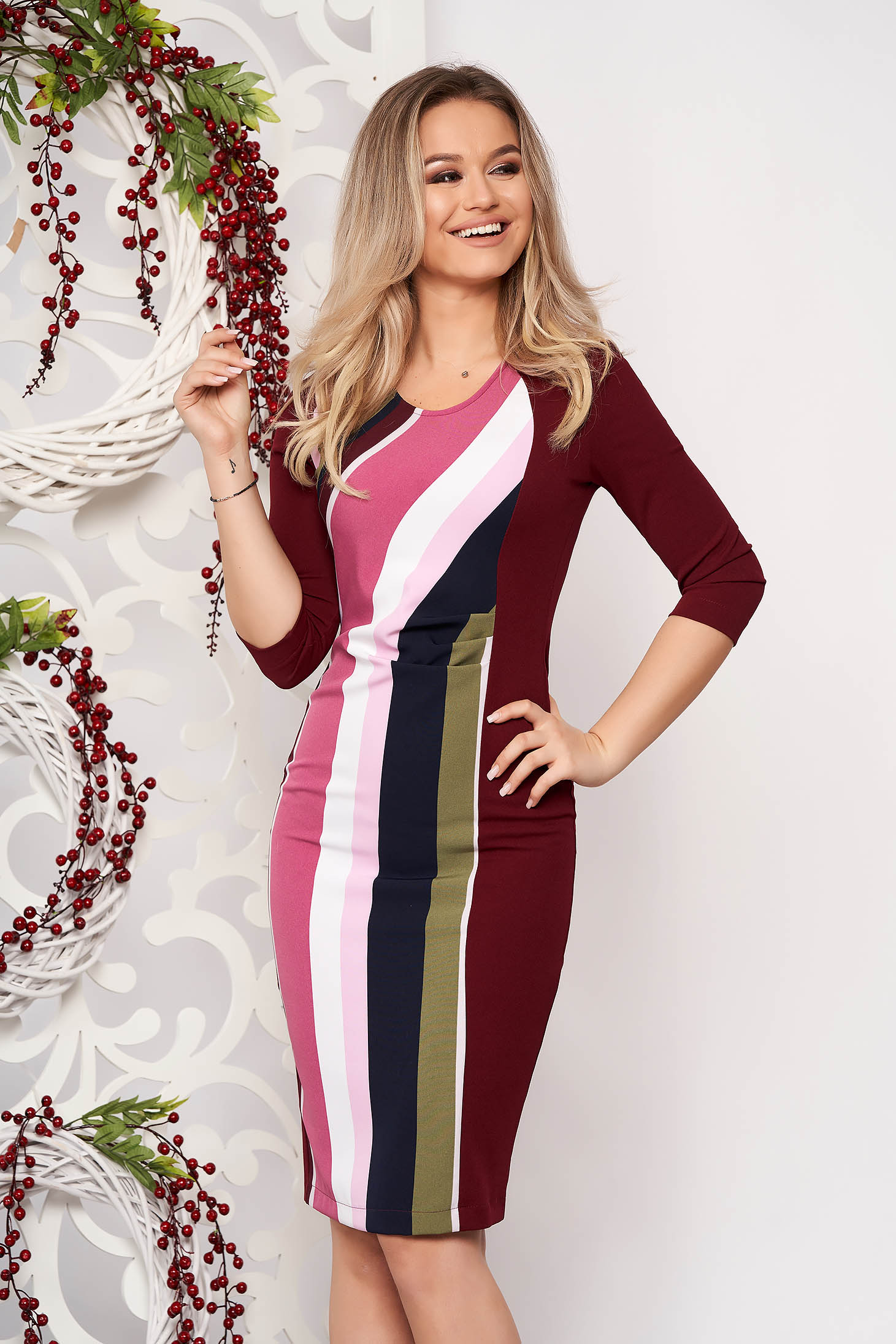 StarShinerS burgundy office midi pencil dress 3/4 sleeve slightly elastic fabric with stripes