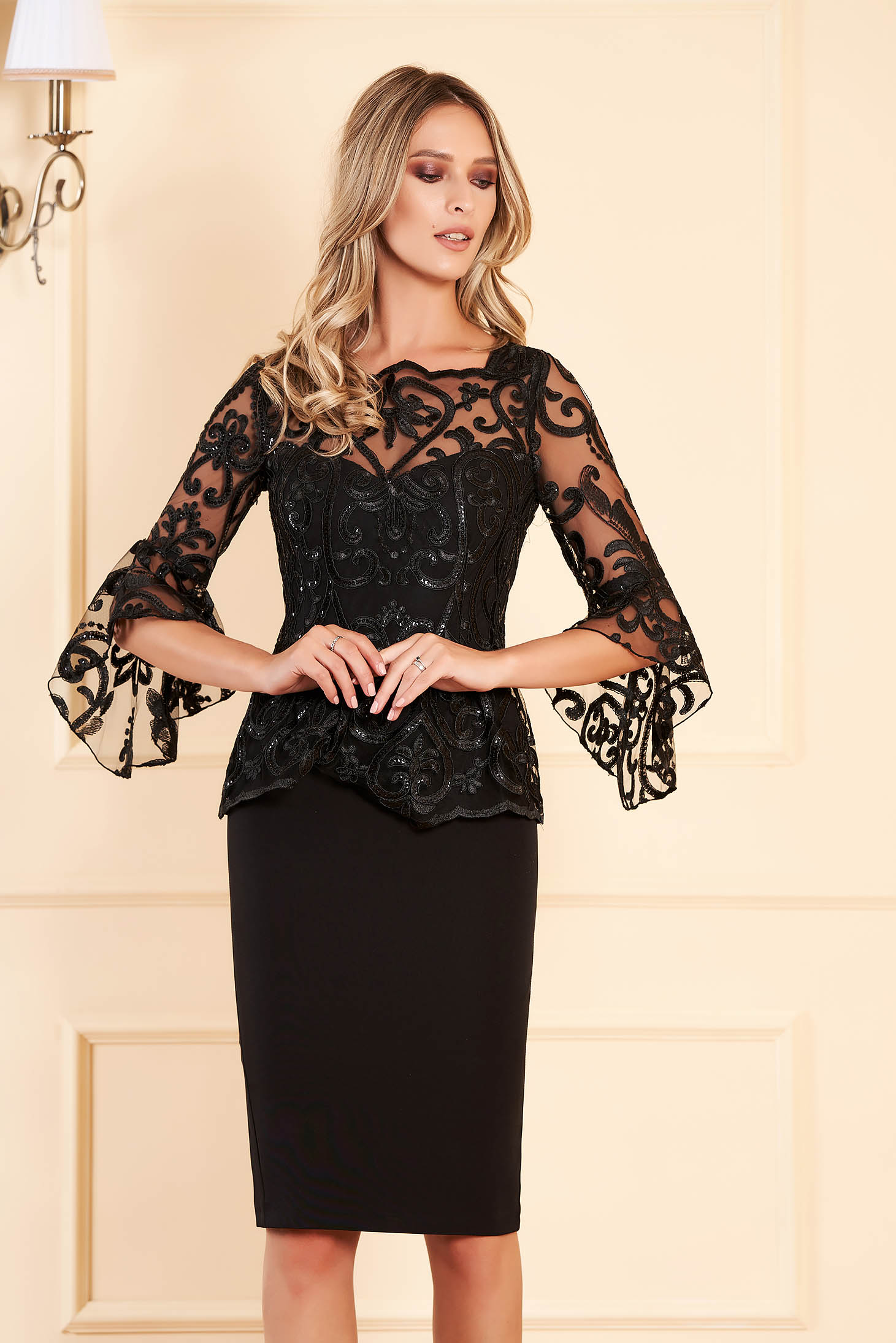 Black dress occasional midi pencil peplum with inside lining with bell sleeve with sequin embellished details