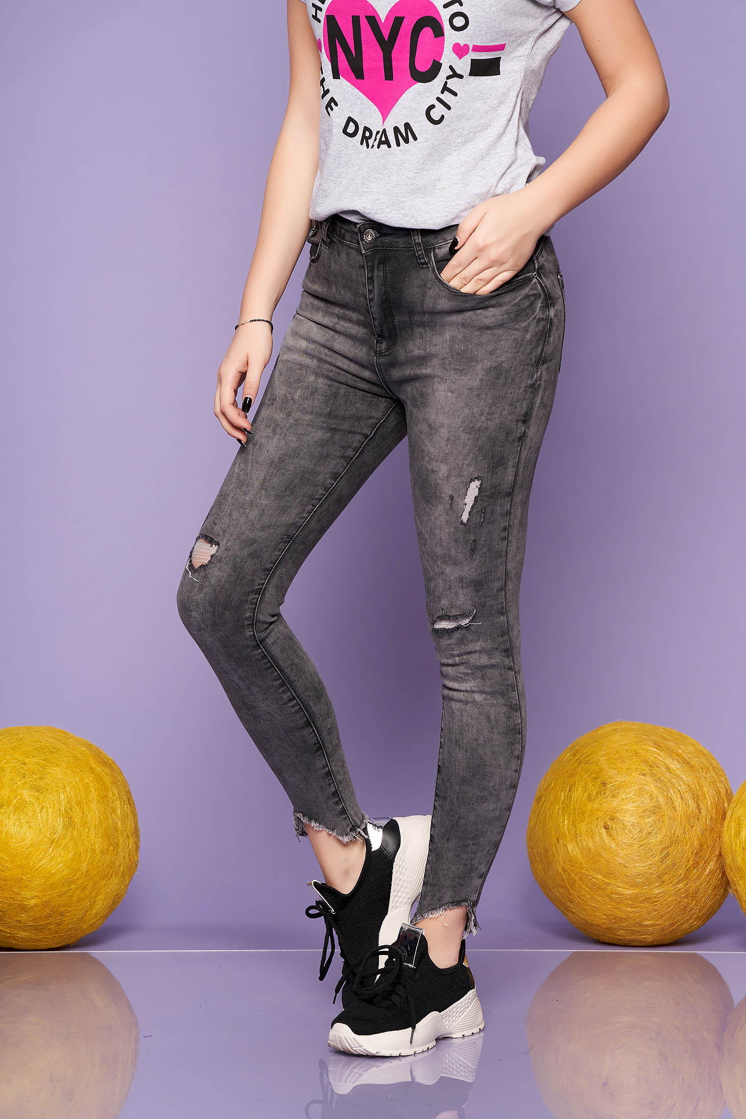 Darkgrey casual skinny jeans medium waist with ruptures slightly elastic cotton
