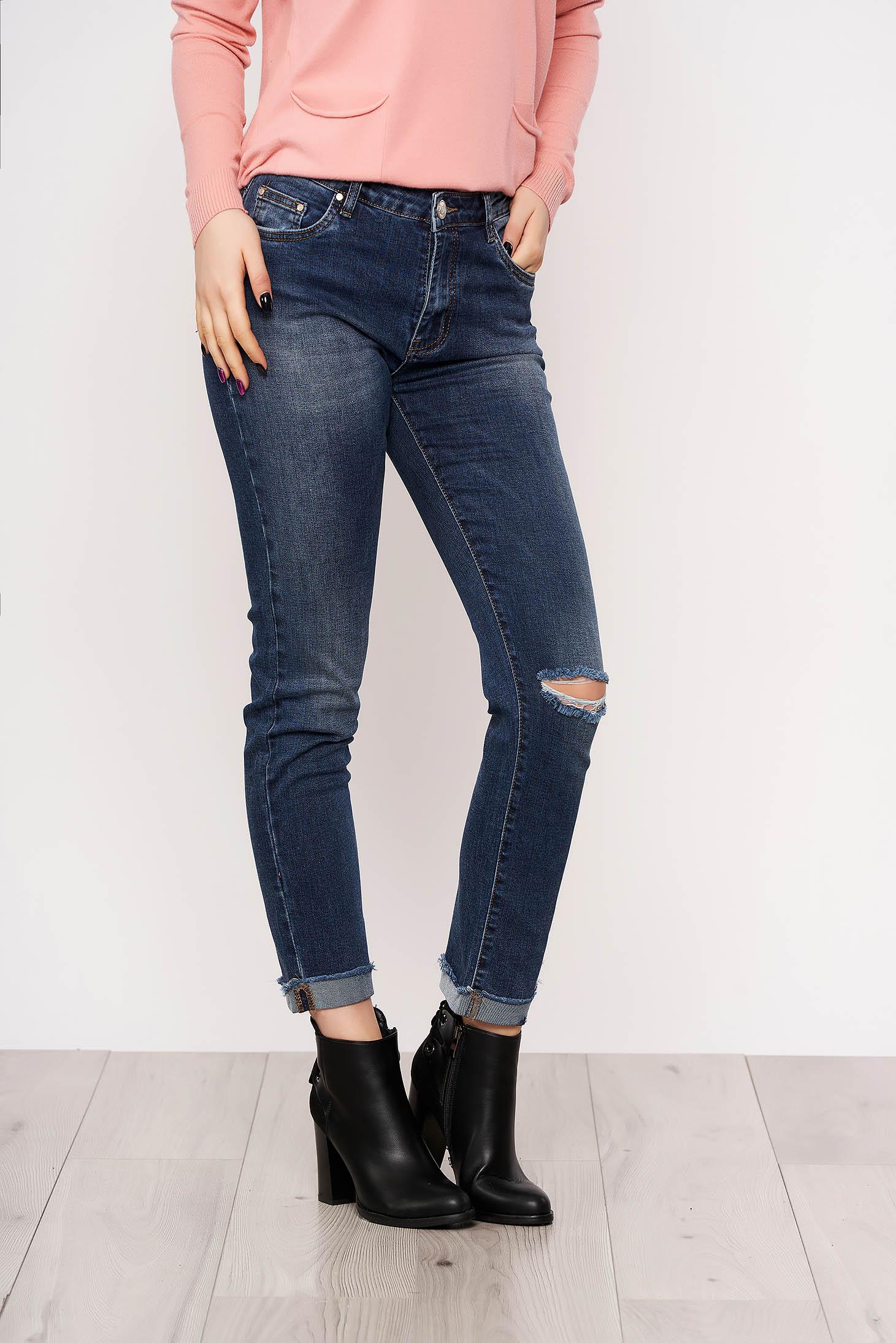 Blue skinny jeans jeans medium waist slightly elastic cotton