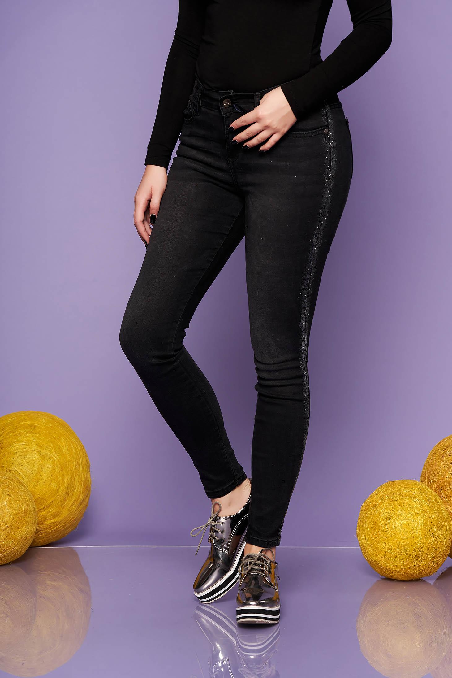 Black skinny jeans jeans medium waist slightly elastic cotton