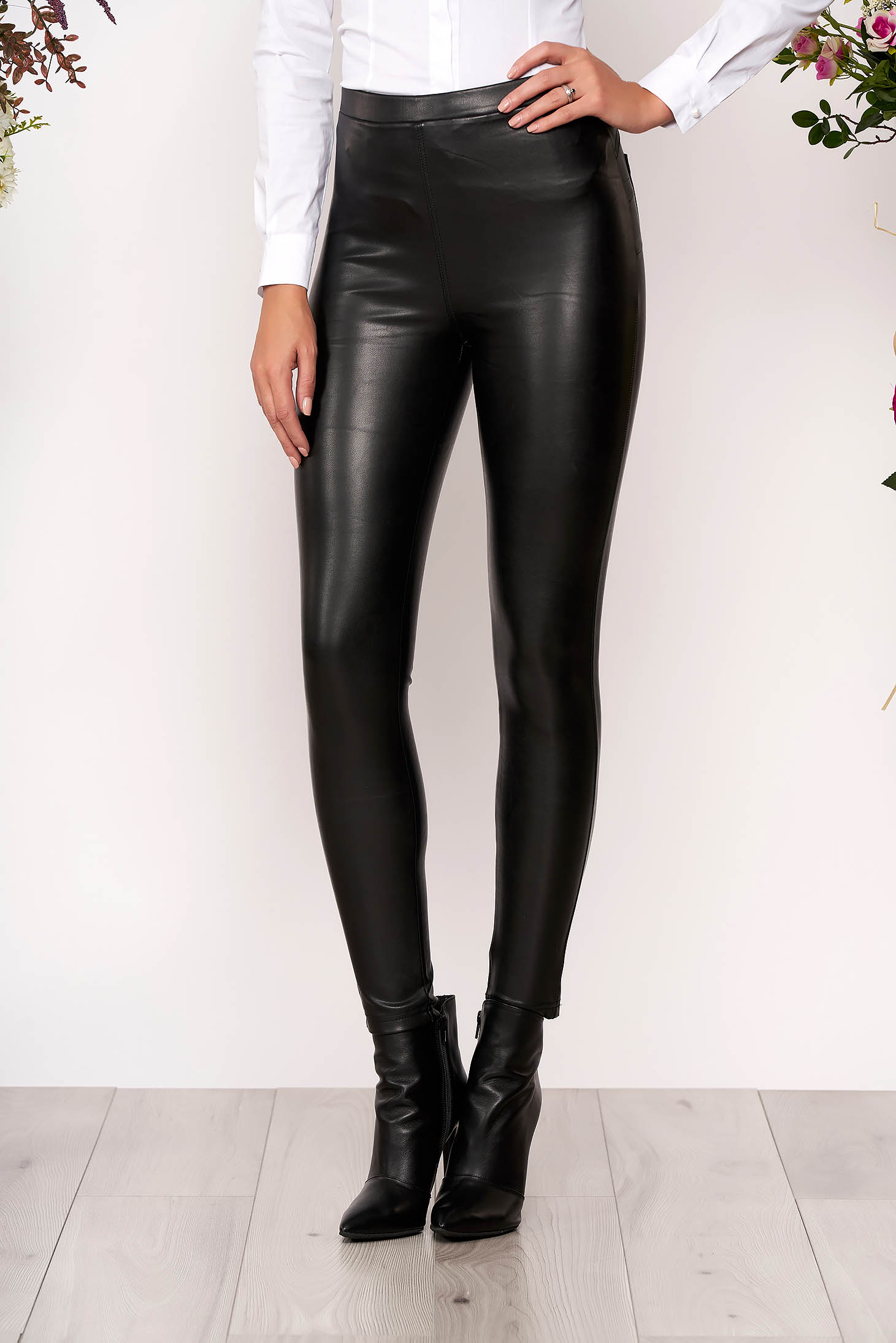 Black tights medium waist with elastic waist from ecological leather