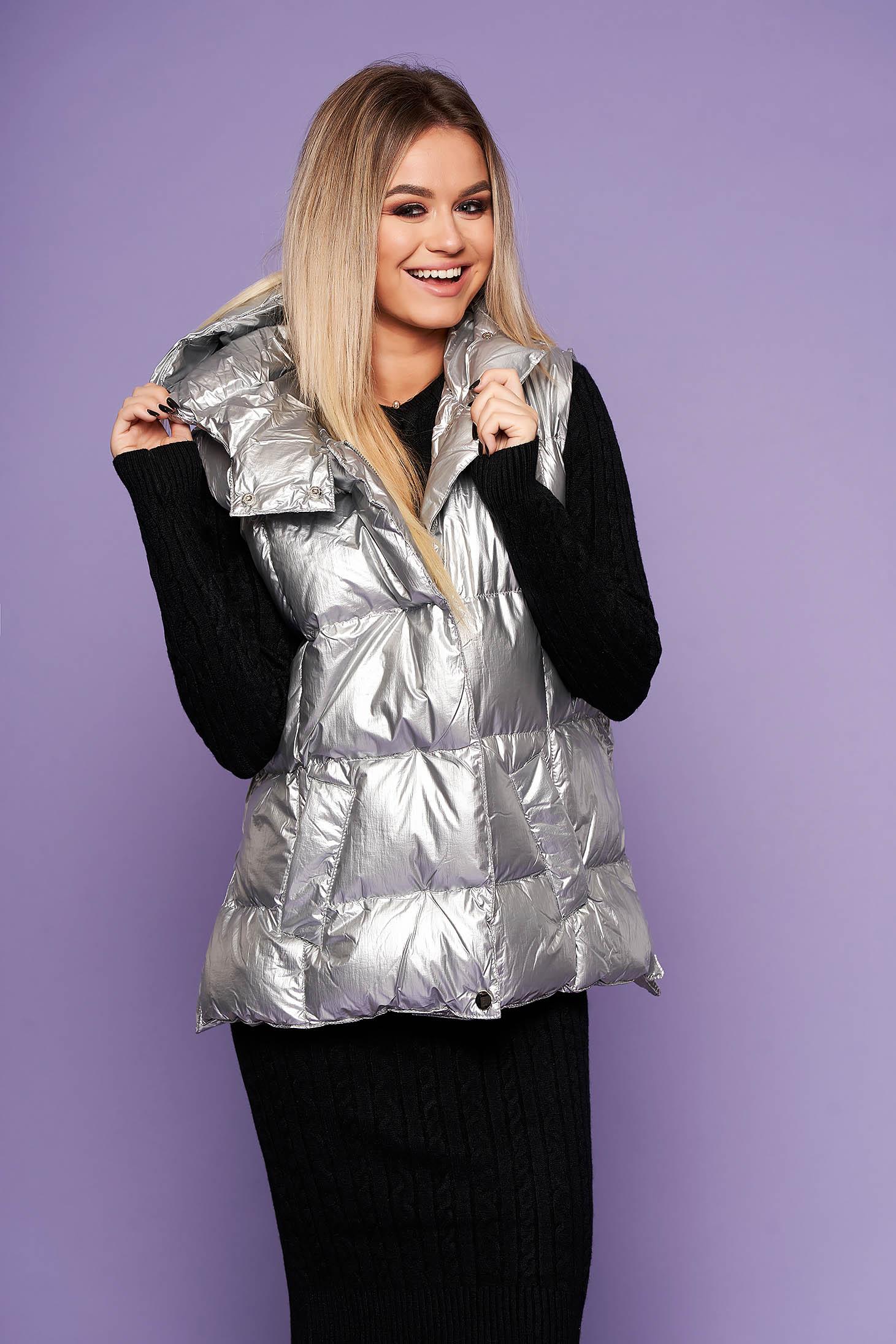 Vesta SunShine argintiu casual din fas cu gluga nedetasabila din material lucios matlasat
