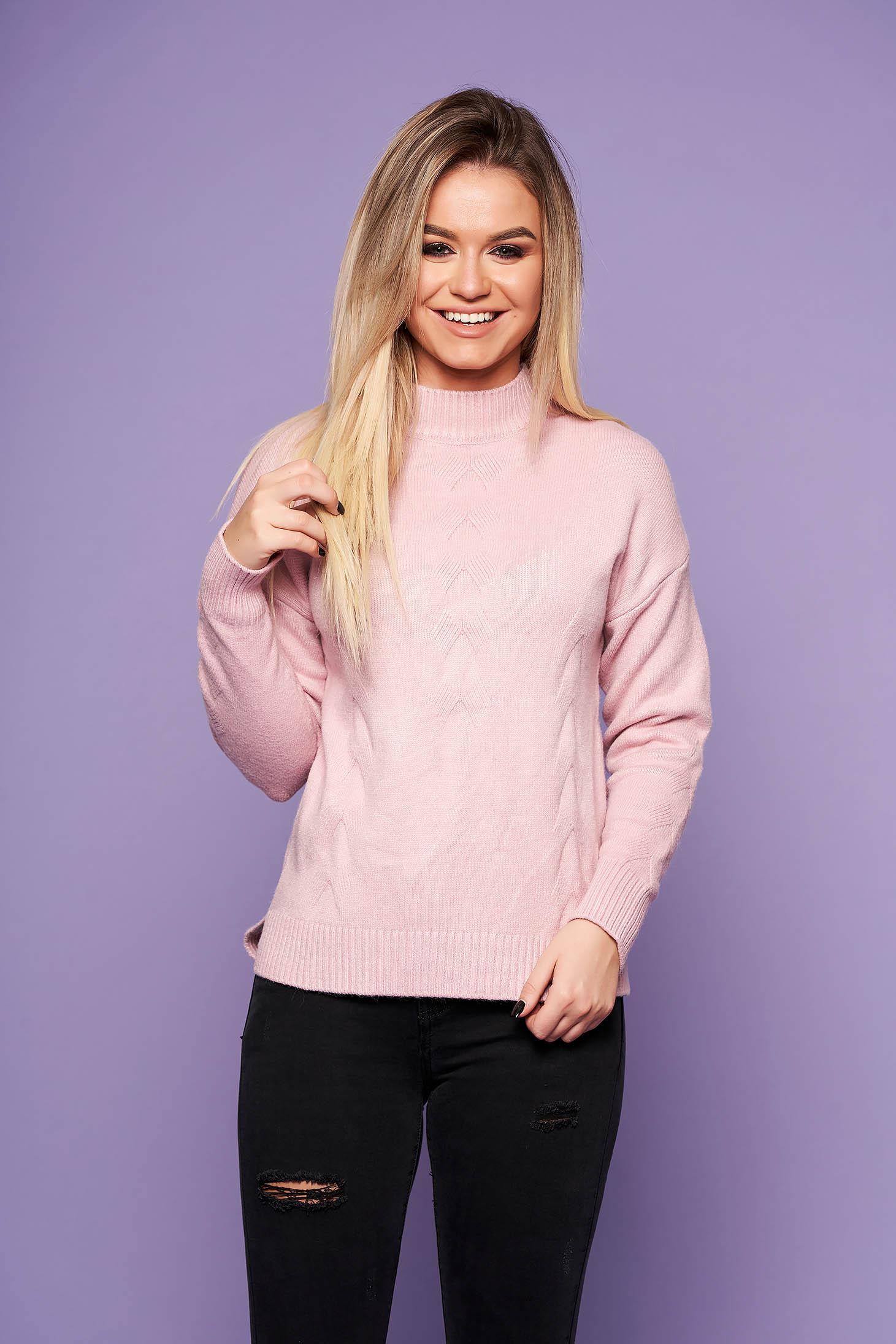 Pulover SunShine roz prafuit casual cu croi larg din material tricotat cu maneca lunga