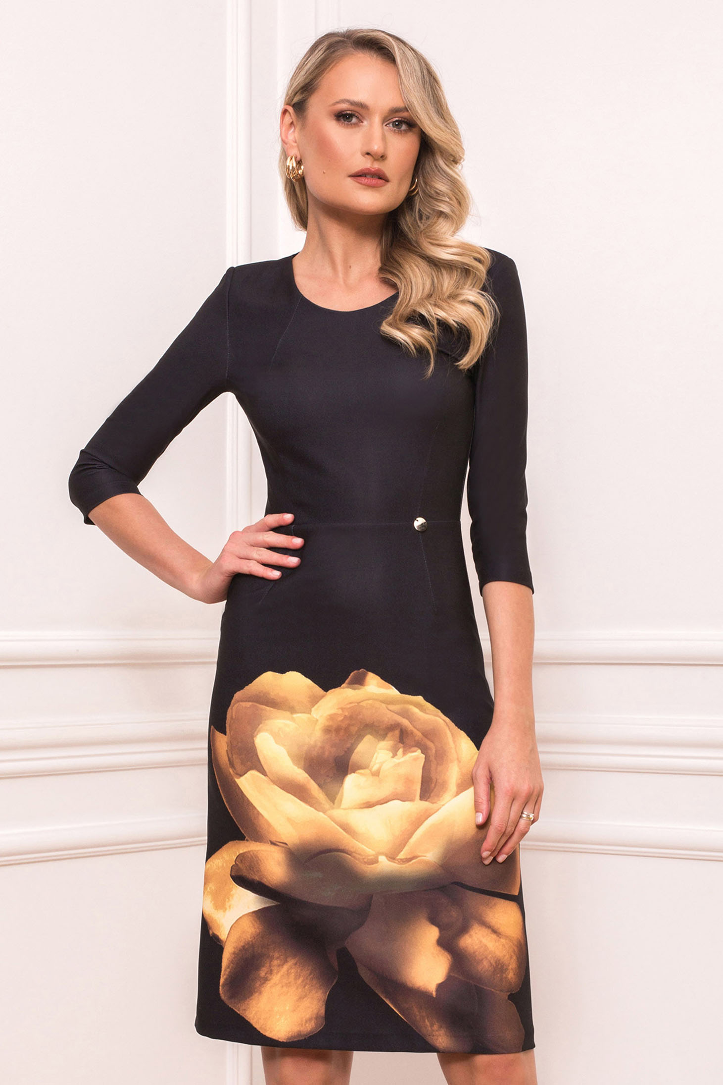 Mustard elegant midi pencil dress from elastic fabric with rounded cleavage with floral print