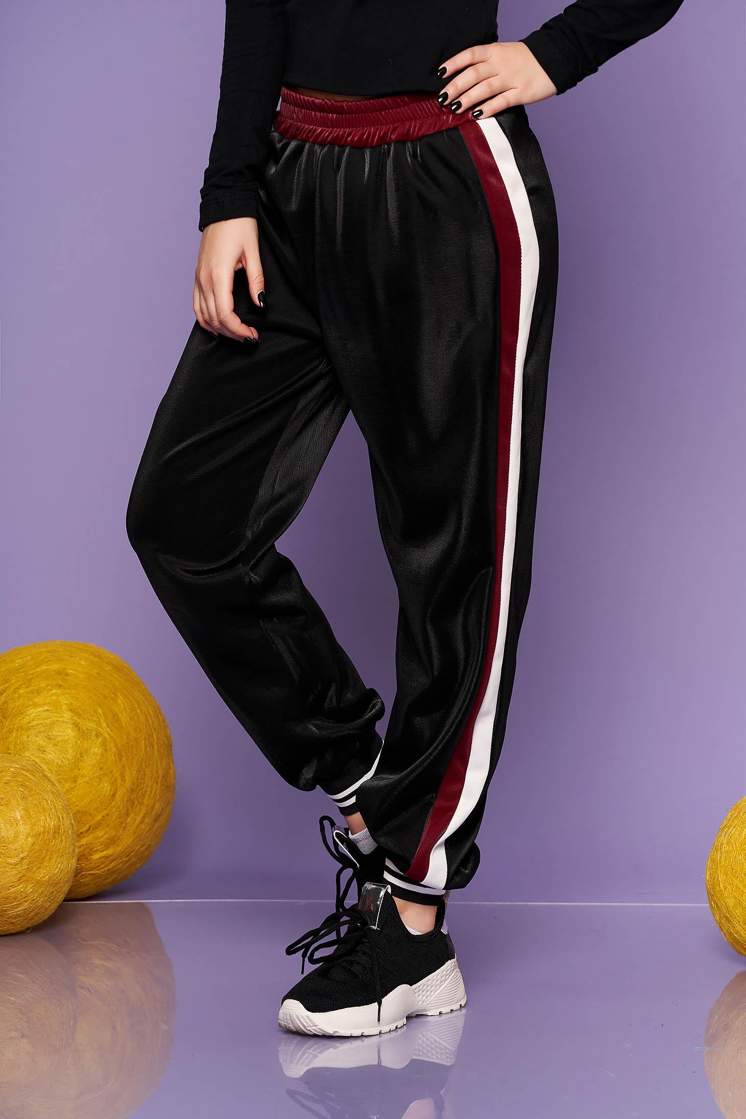 Pantaloni SunShine visinii casual din material lucios cu elastic in talie