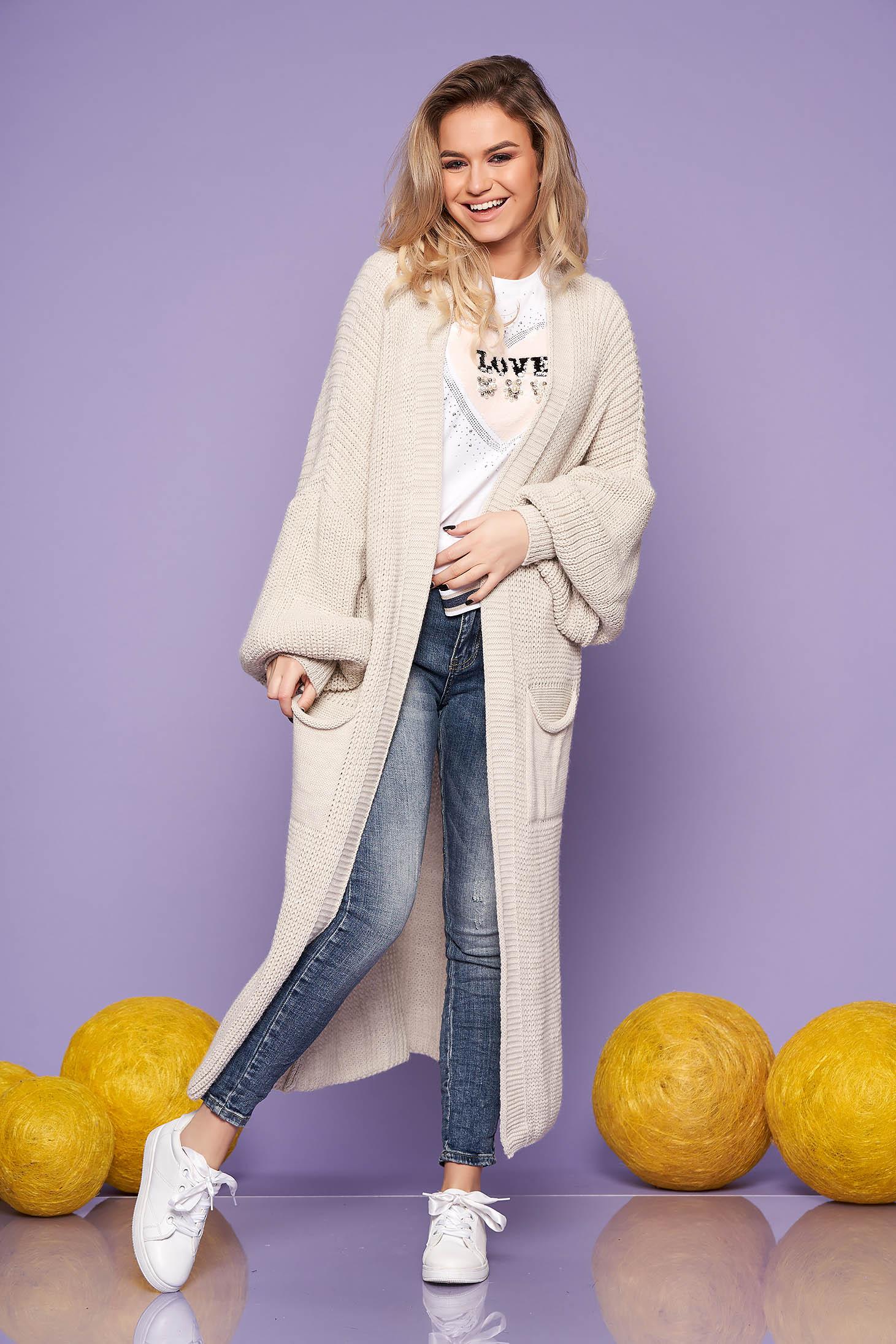 Cardigan SunShine crem casual lunga din material tricotat cu maneci lungi