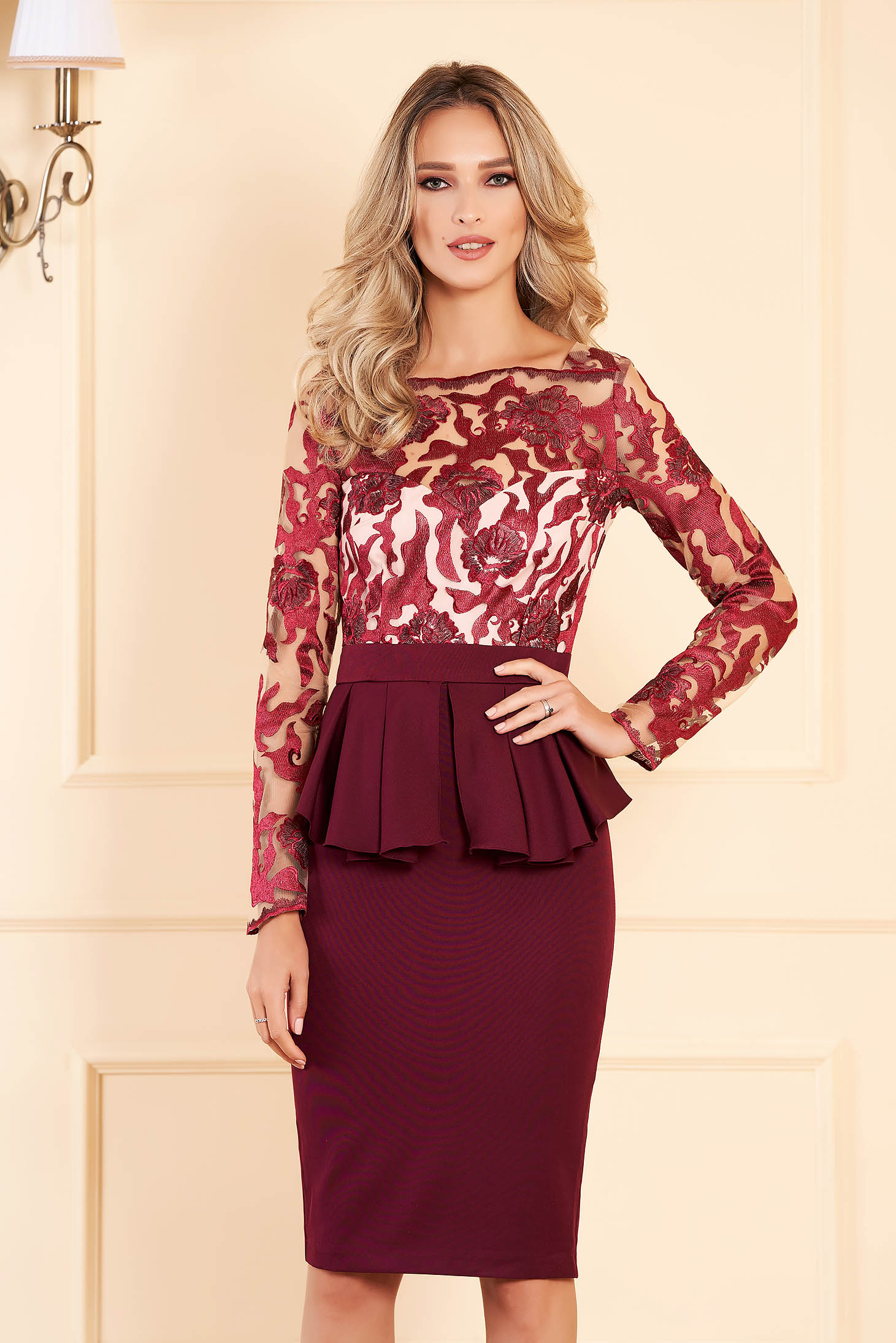 Burgundy occasional pencil dress cloth and laced fabric with peplum