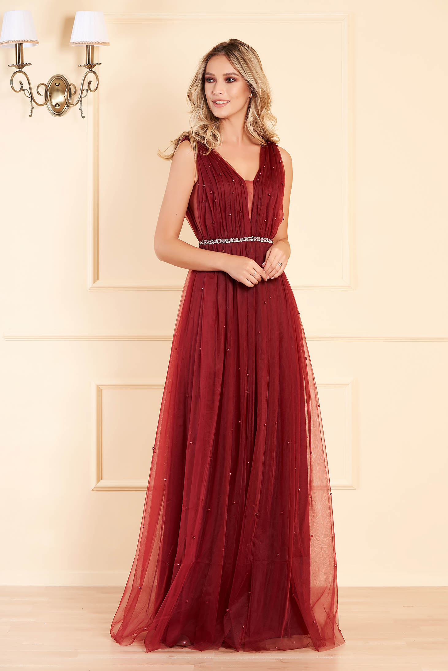 Burgundy long occasional cloche dress from tulle with pearls with push-up cups sleeveless