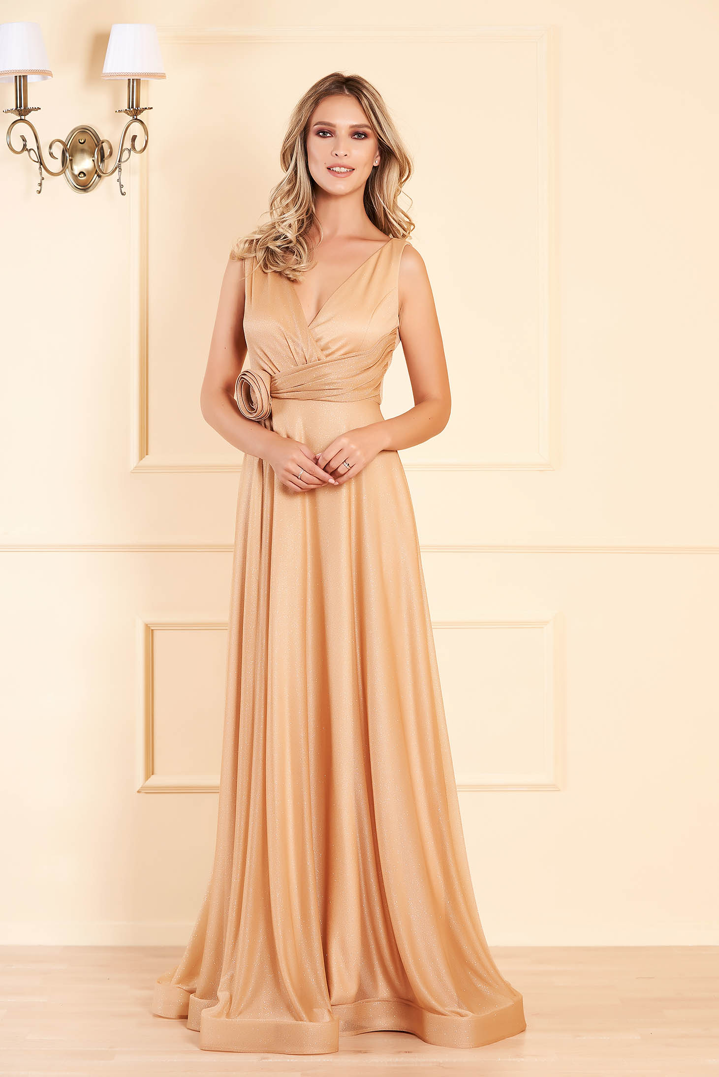 Gold long occasional cloche dress with push-up cups with deep cleavage