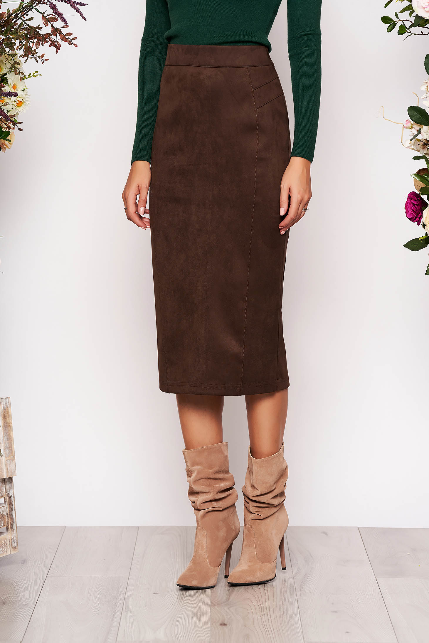 hot product clear-cut texture big selection of 2019 StarShinerS darkbrown midi high waisted pencil skirt from velvet fabric