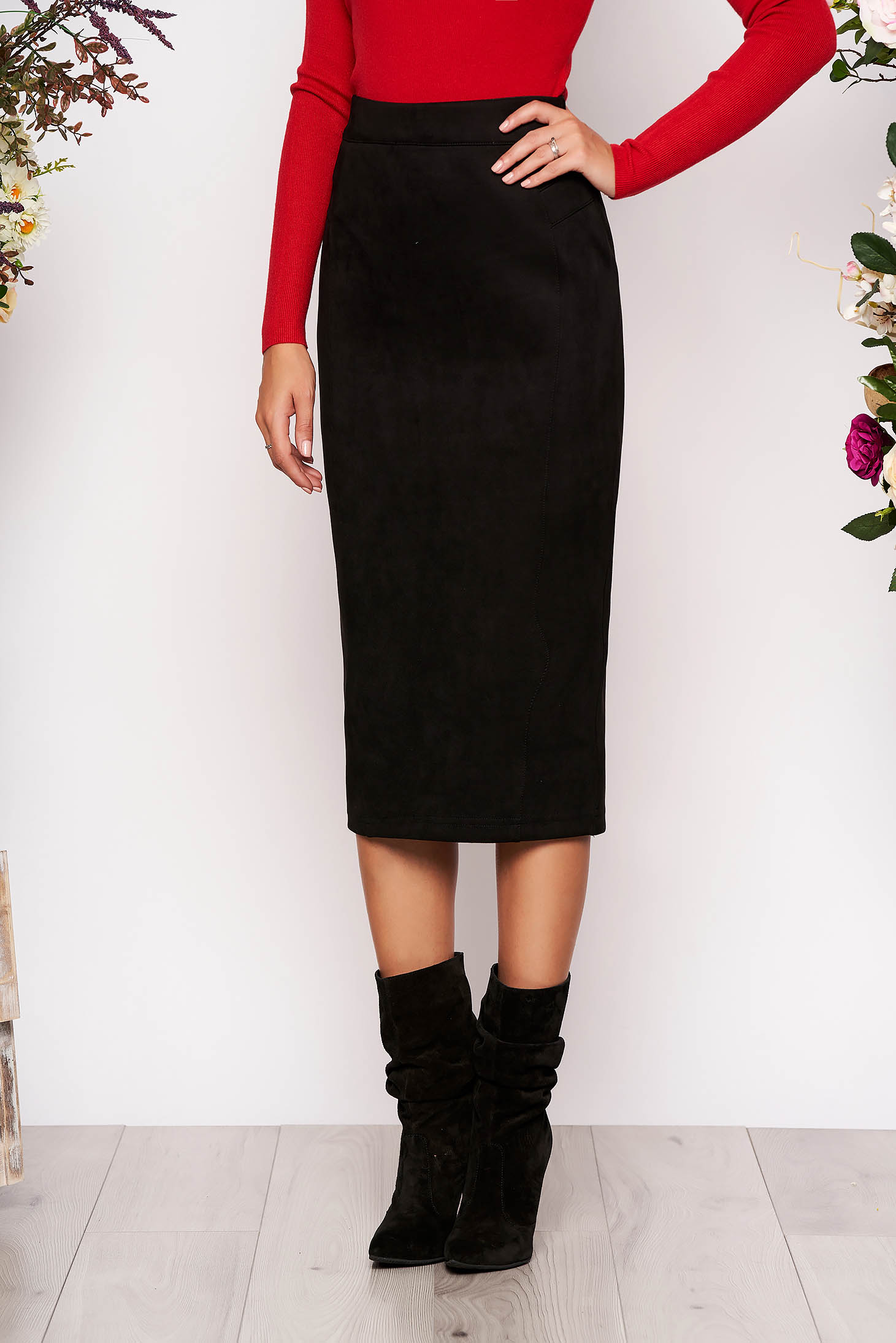 StarShinerS black midi high waisted pencil skirt from velvet fabric