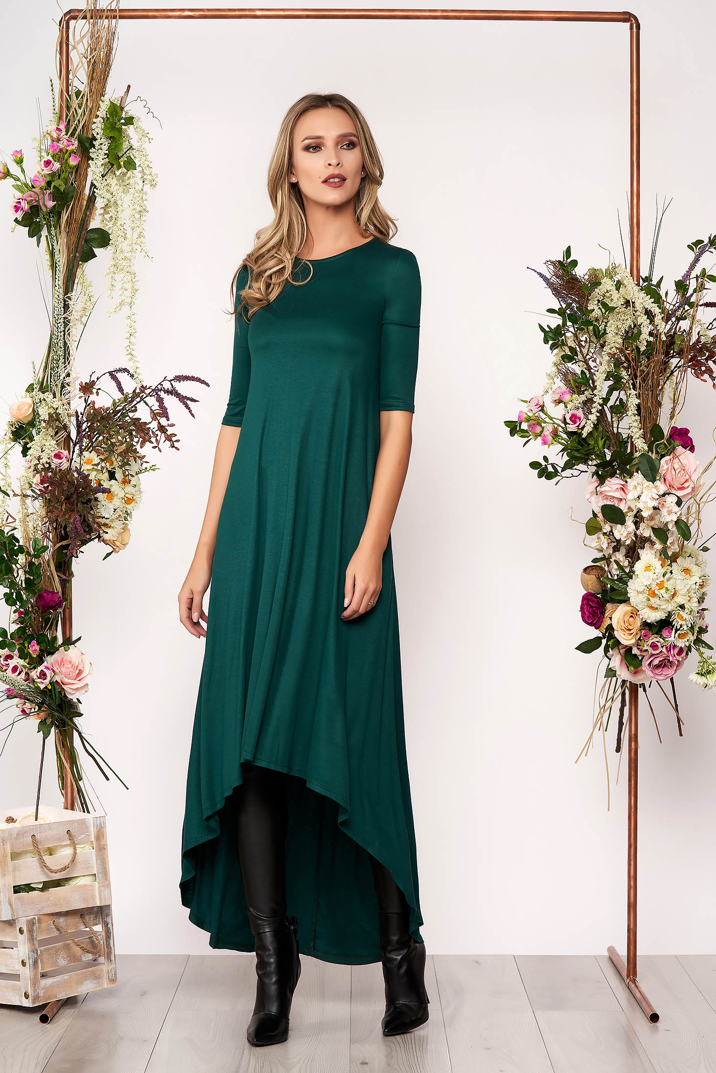 Dirty green daily asymmetrical dress slightly elastic cotton with 3/4 sleeves