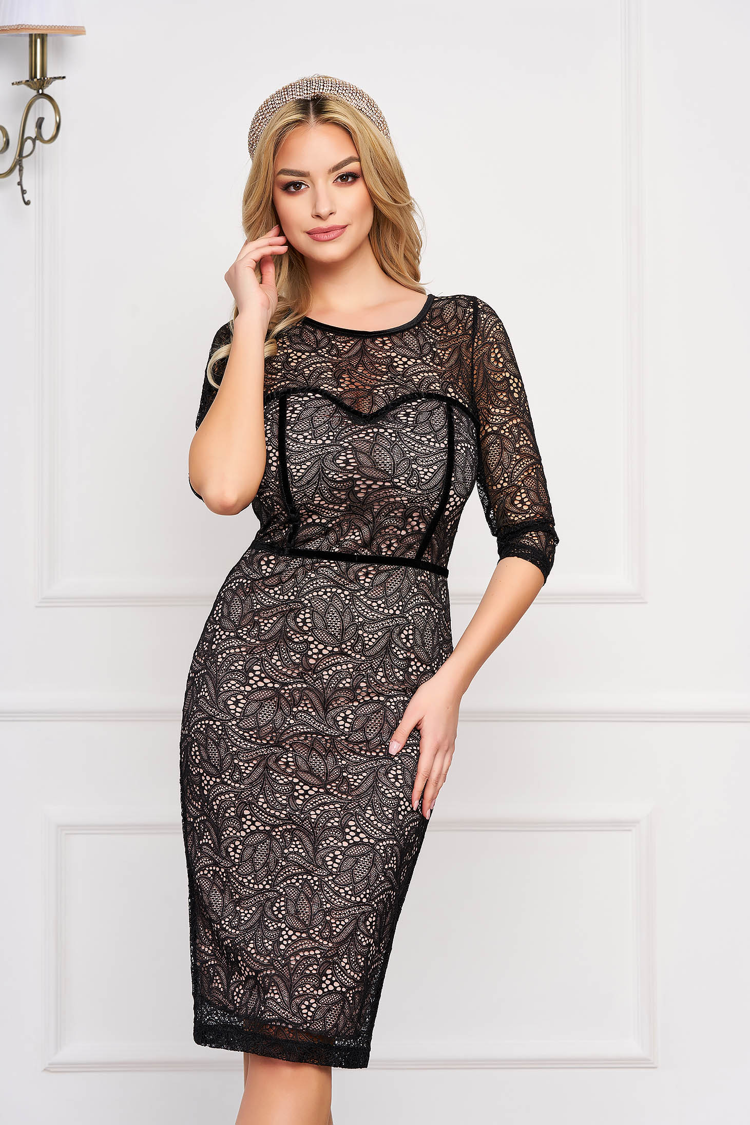 StarShinerS black dress occasional short cut pencil laced neckline with 3/4 sleeves accessorized with tied waistband