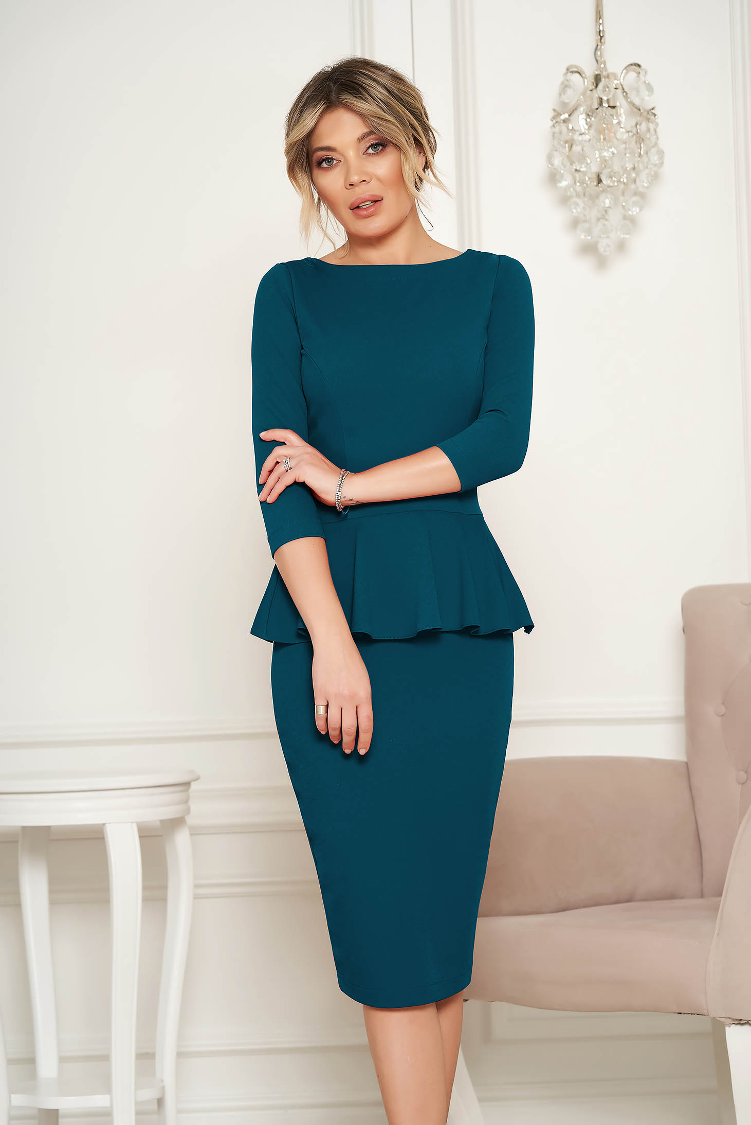 StarShinerS dirty green office midi pencil dress from elastic fabric with frilled waist