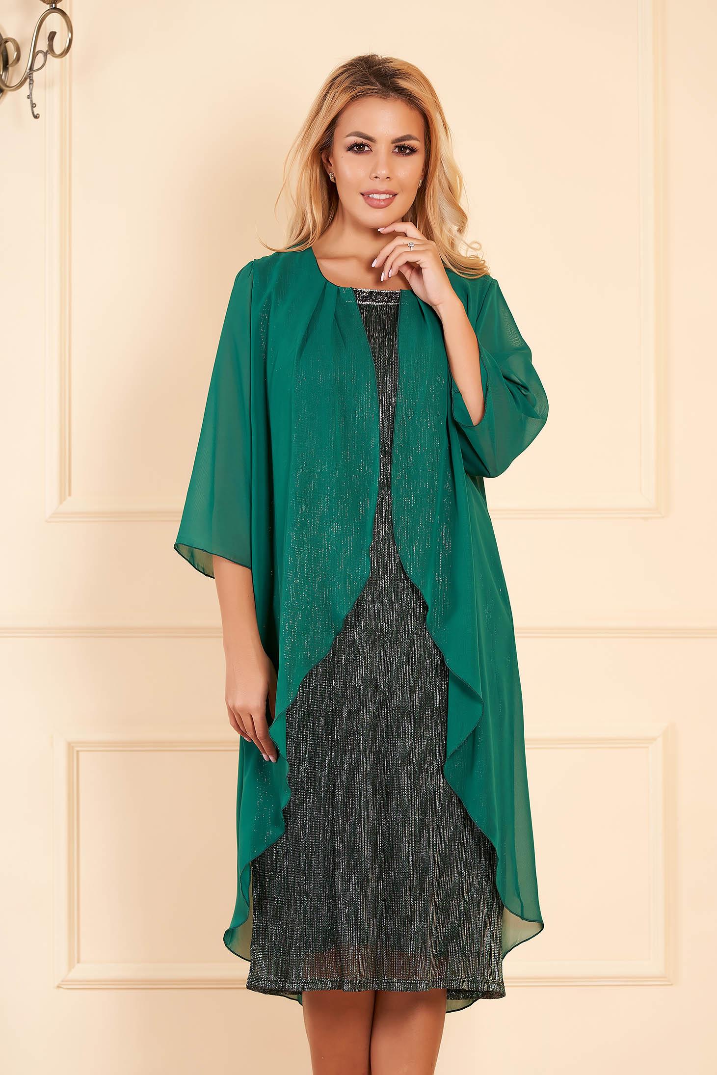 Rochie verde eleganta de ocazie midi tip creion cu maneci scurte cu maneci din voal suprapunere cu voal