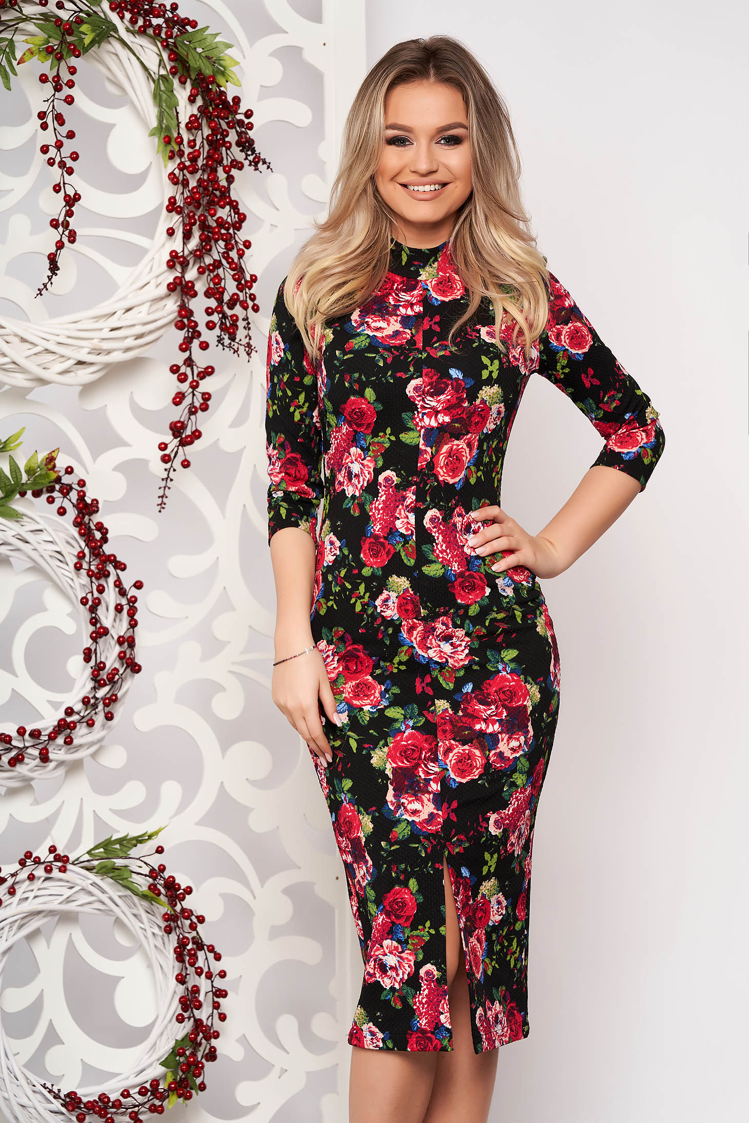 StarShinerS midi elegant pencil black dress with turtle neck and 3/4 sleeves with floral print