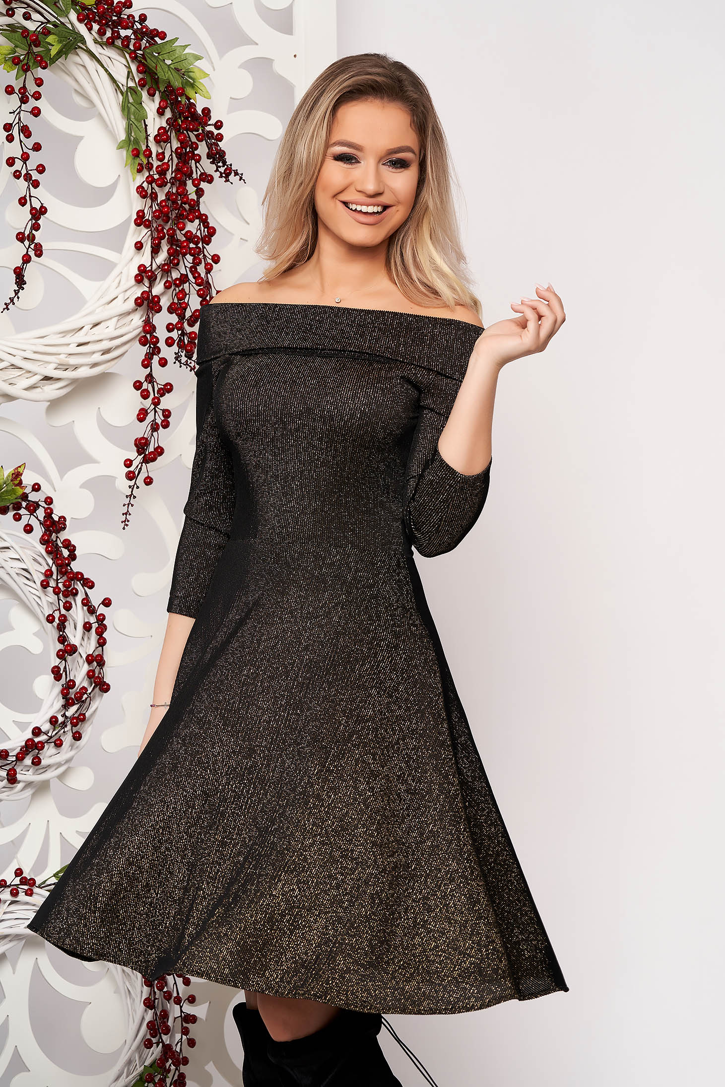 StarShinerS black dress flaring cut with 3/4 sleeves midi 3/4 sleeve
