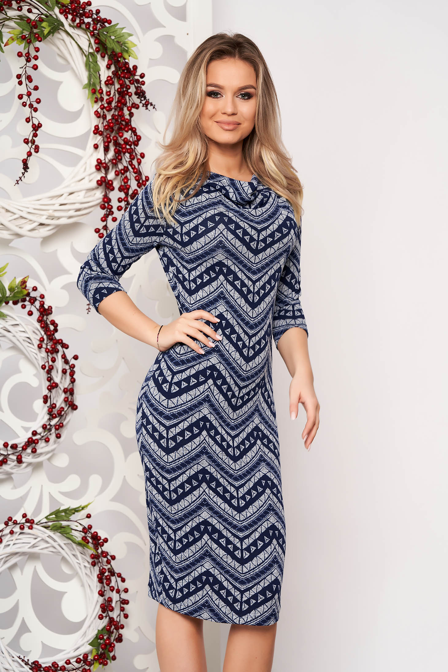 StarShinerS darkblue daily dress knitted fabric with tented cut with 3/4 sleeves