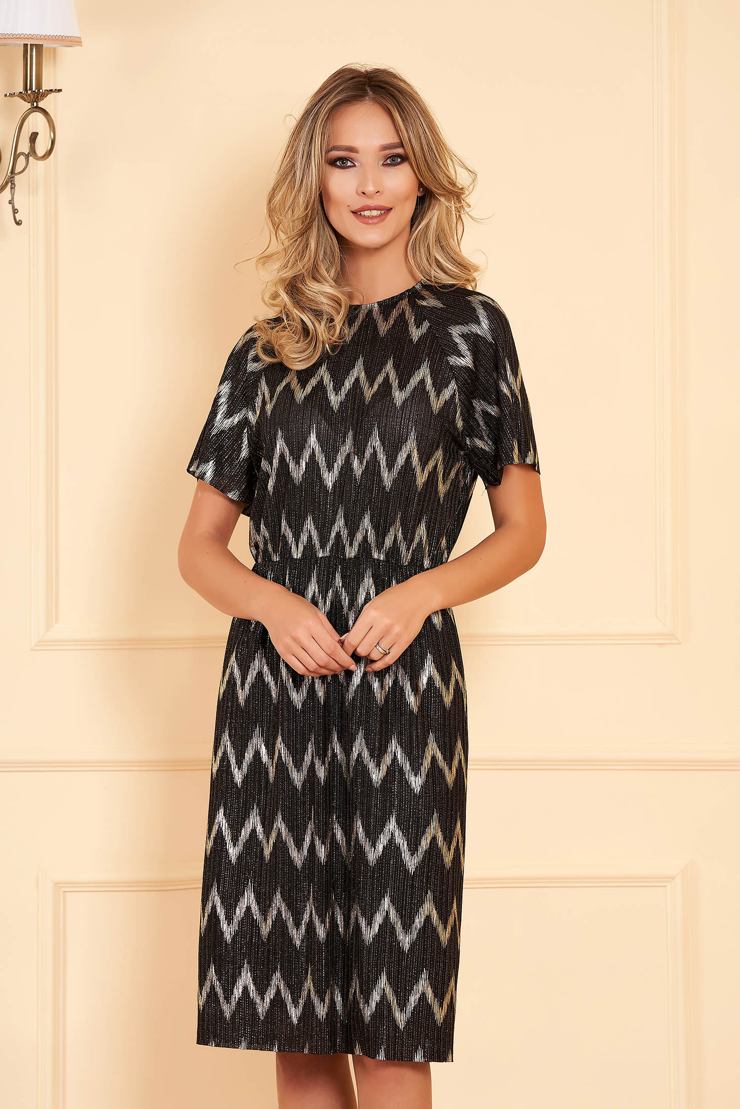 Dress StarShinerS black occasional midi straight knitted with elastic waist short sleeve