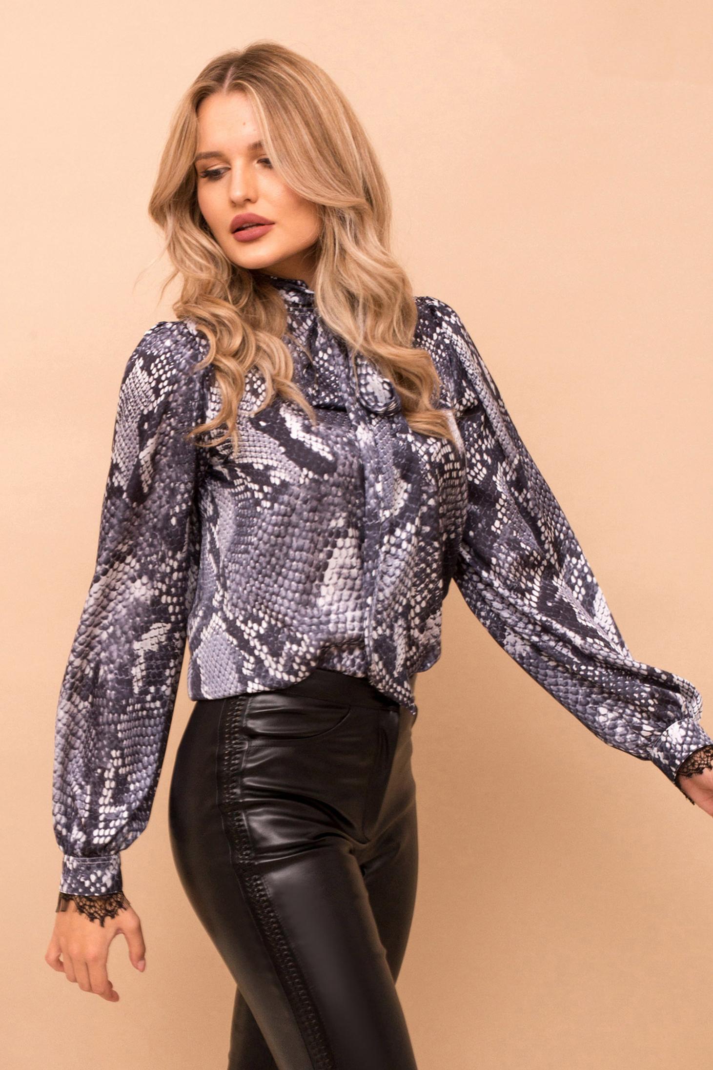 Bluza dama PrettyGirl gri cu croi larg cu maneca lunga din material neelastic snake print