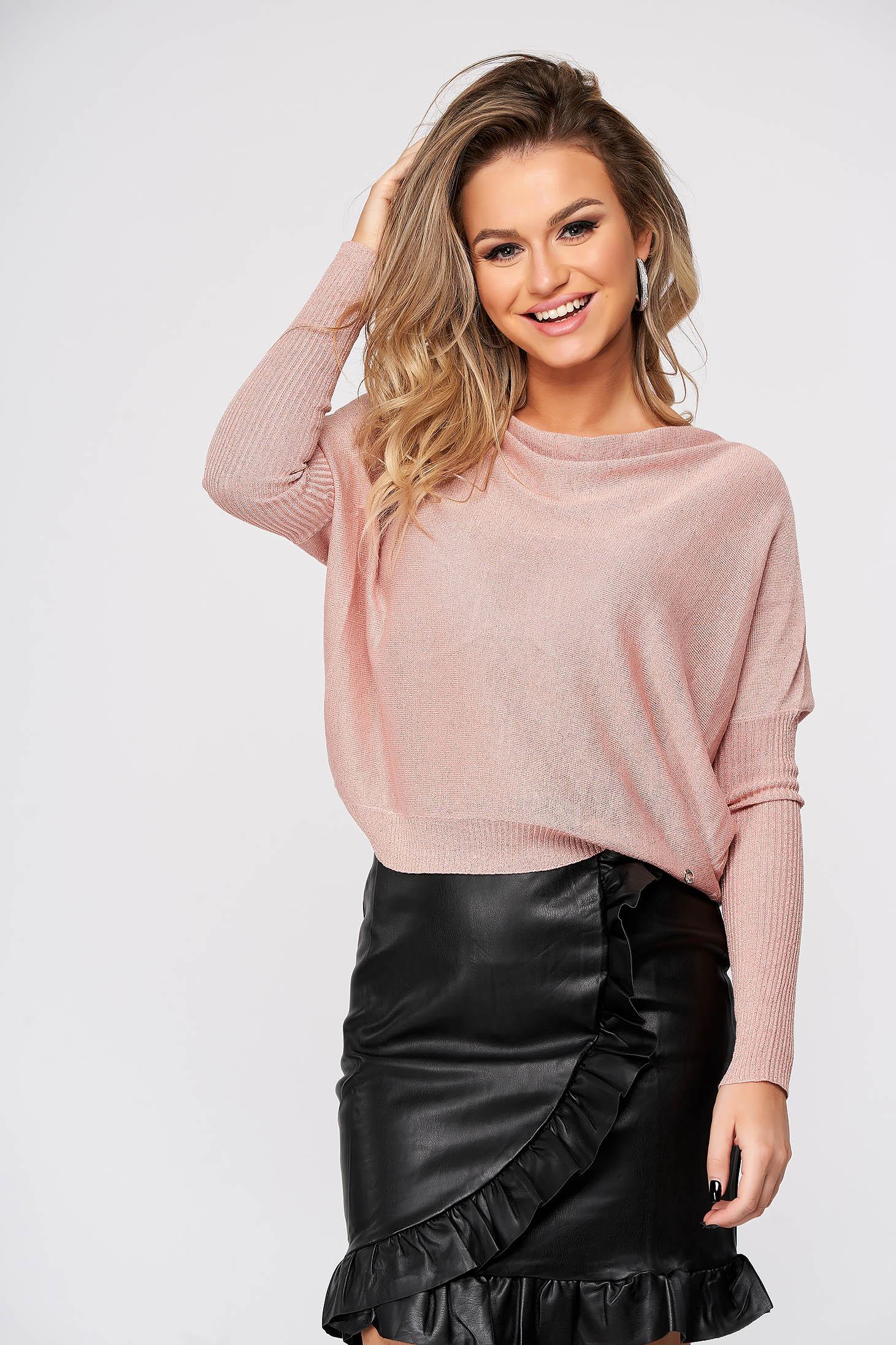 Pulover Top Secret roz deschis casual tricotat cu croi larg si decolteu cazut