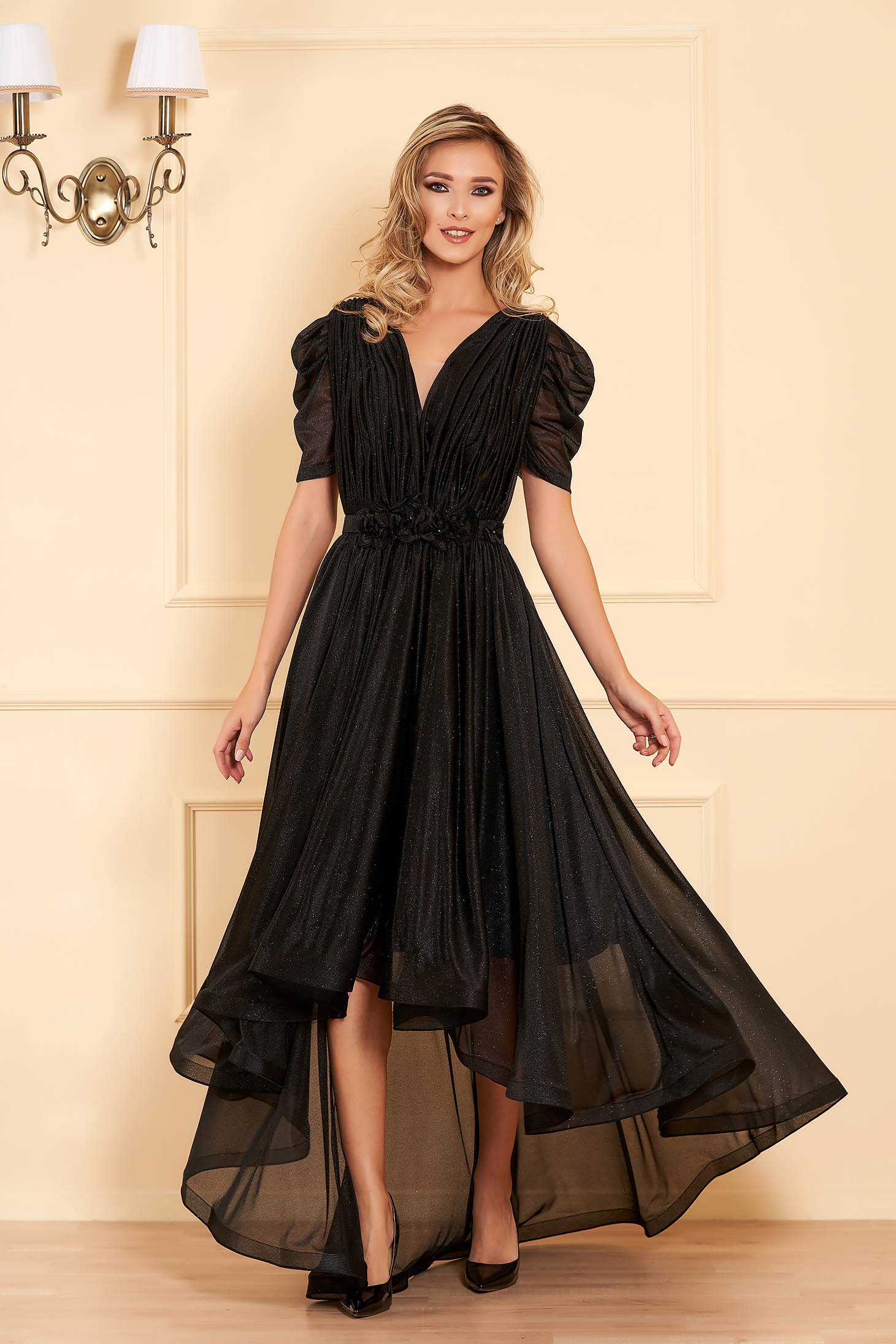 Black occasional cloche dress with v-neckline with floral details
