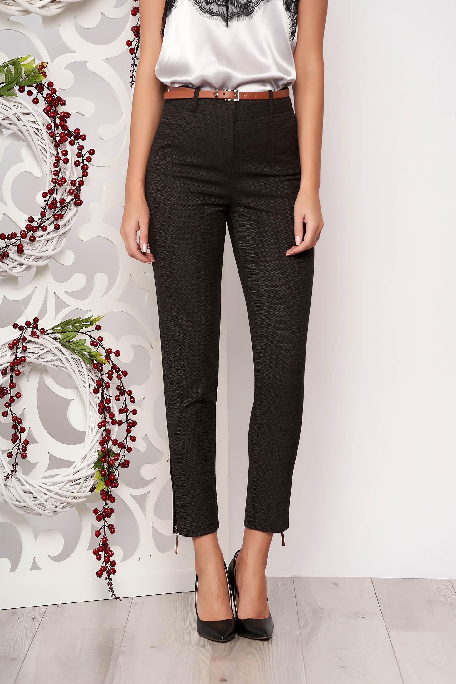 Darkgrey office straight trousers medium waist slightly elastic fabric accessorized with belt