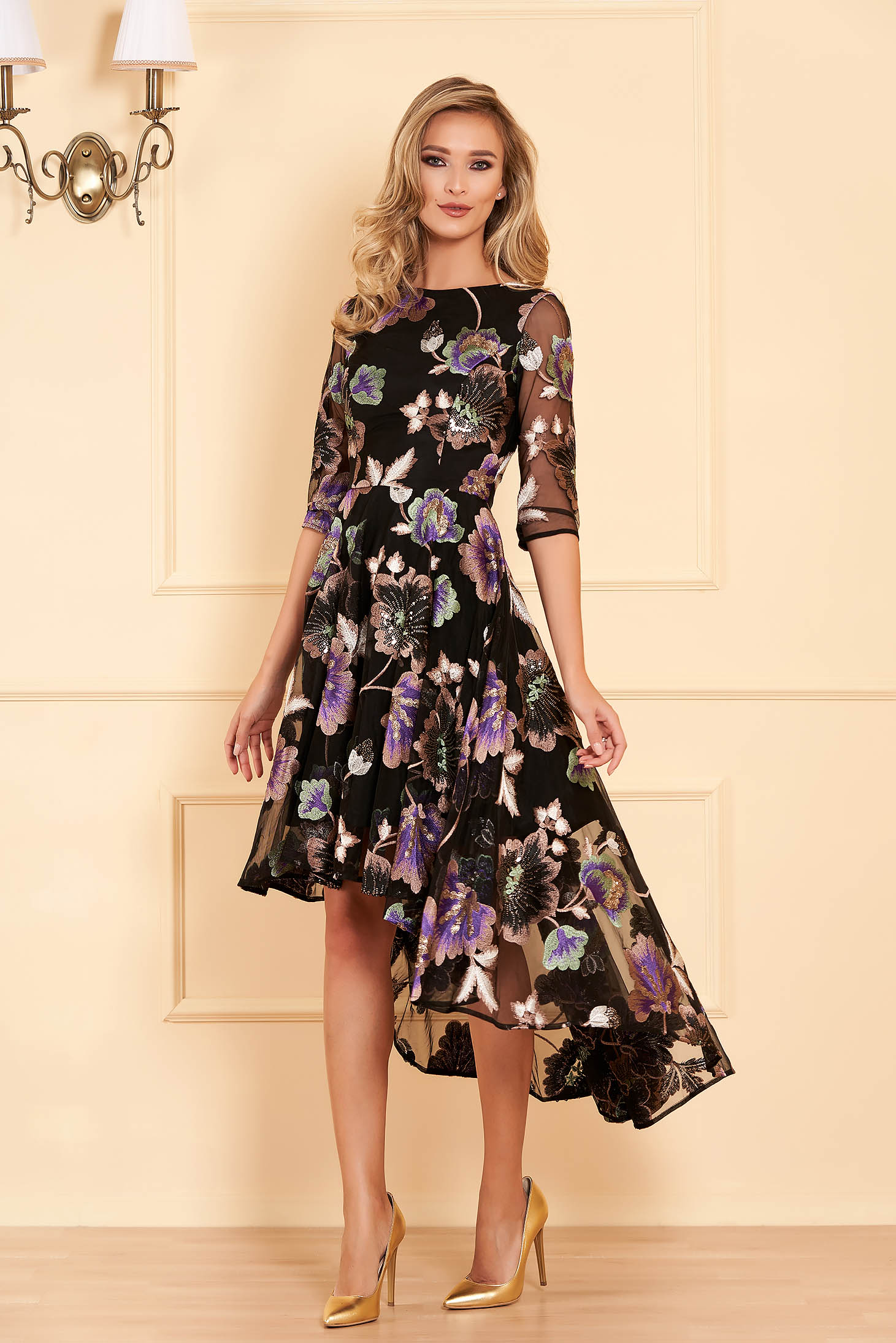 Black occasional asymmetrical flaring cut dress with sequin embellished details