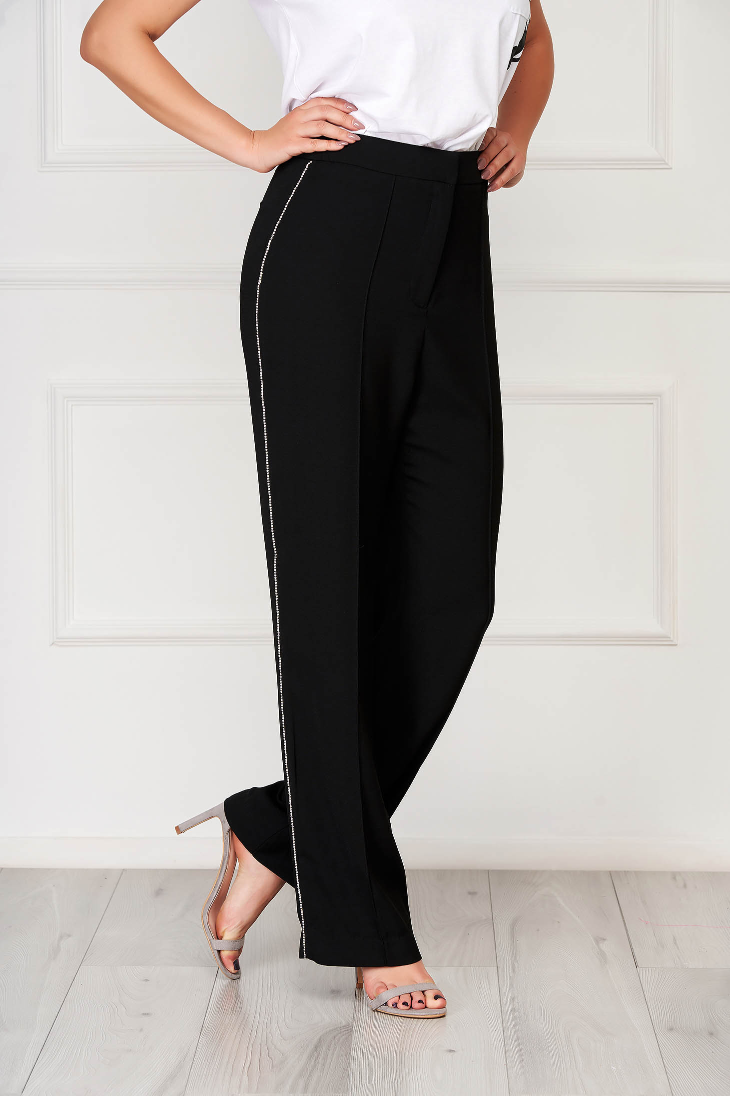 Black trousers elegant high waisted with crystal embellished details