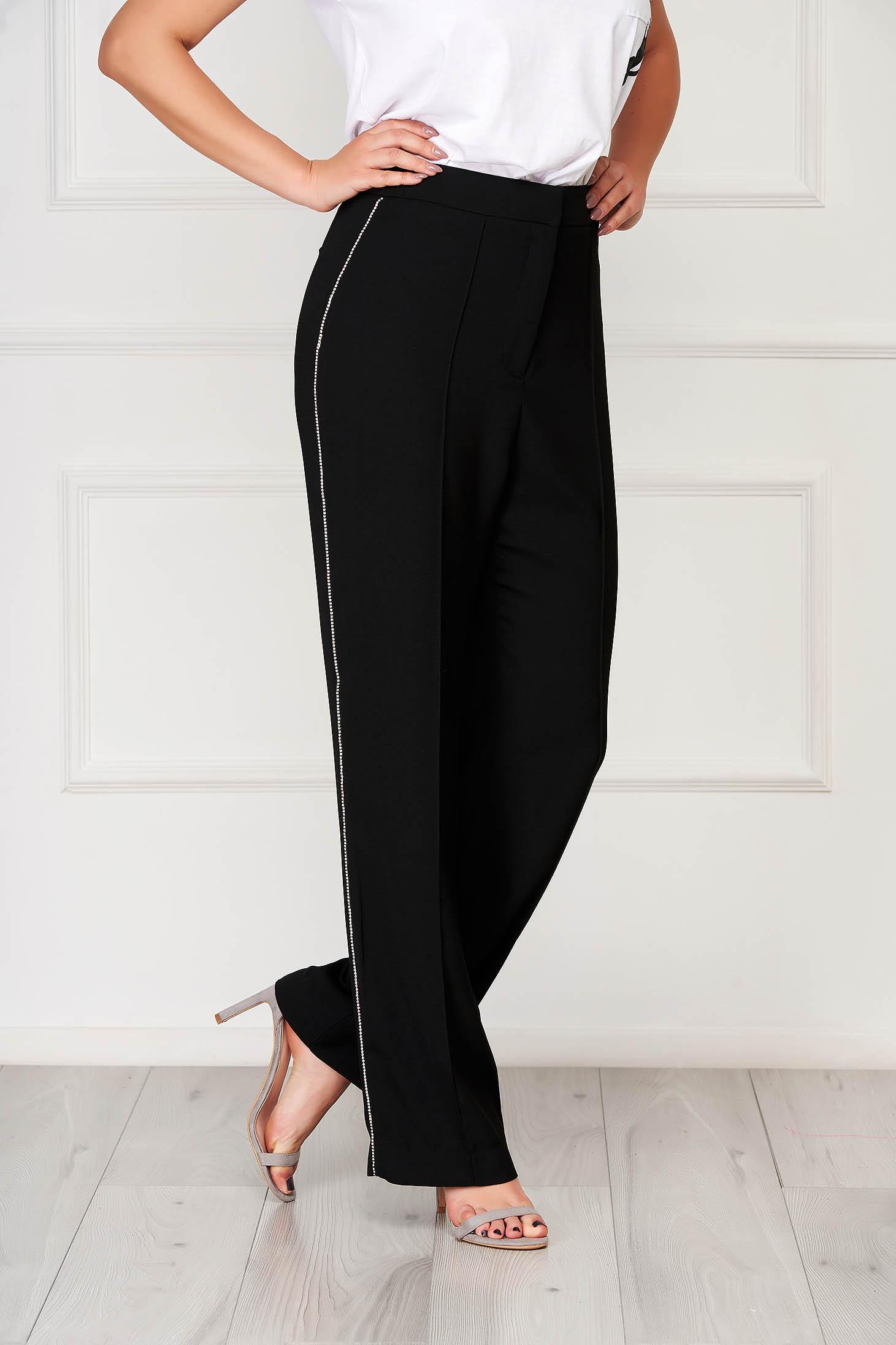 Pantaloni Top Secret negri eleganti cu talie inalta cu aplicatii cu pietre strass