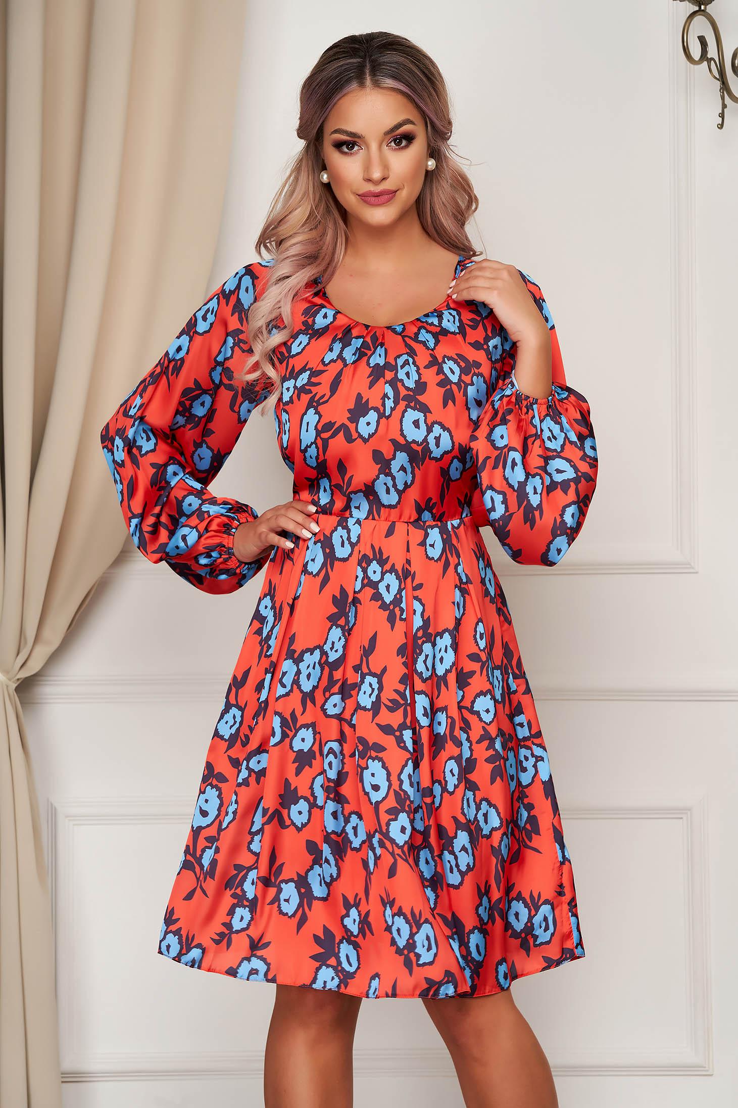 Rochie PrettyGirl portocalie de zi in clos cu decolteu rotunjit din material satinat cu imprimeuri florale