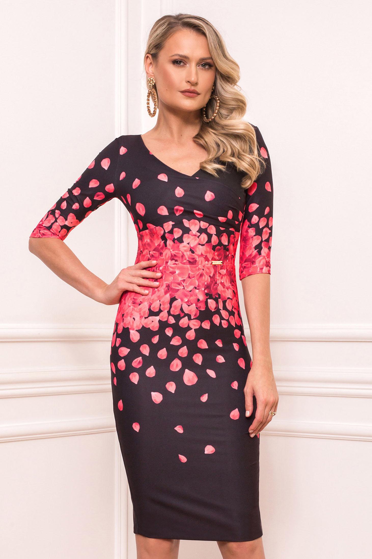 Rochie PrettyGirl rosie eleganta midi din stofa din material usor elastic cu maneci scurte cu decolteu in v