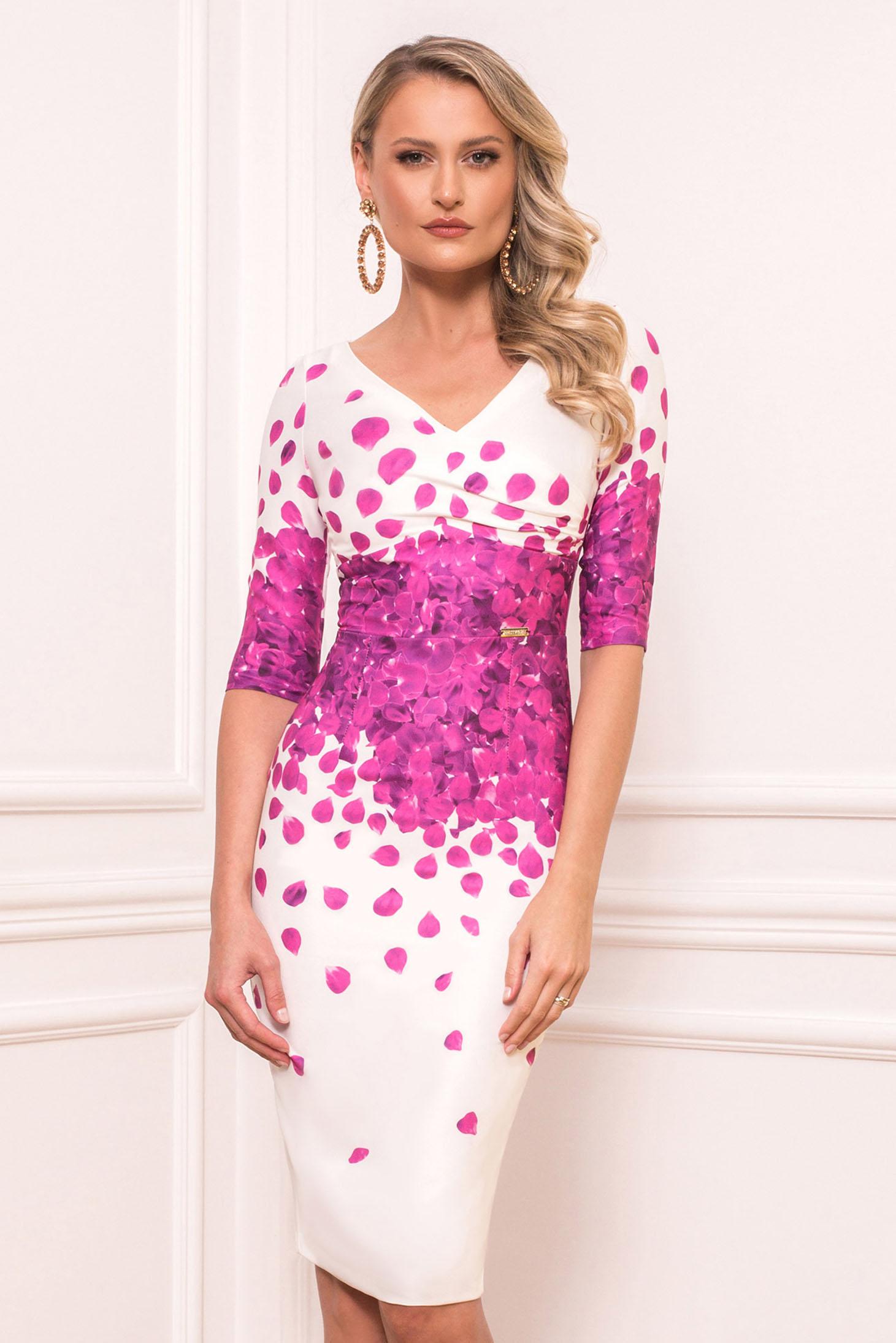 Fuchsia elegant midi cloth dress slightly elastic fabric short sleeves with v-neckline