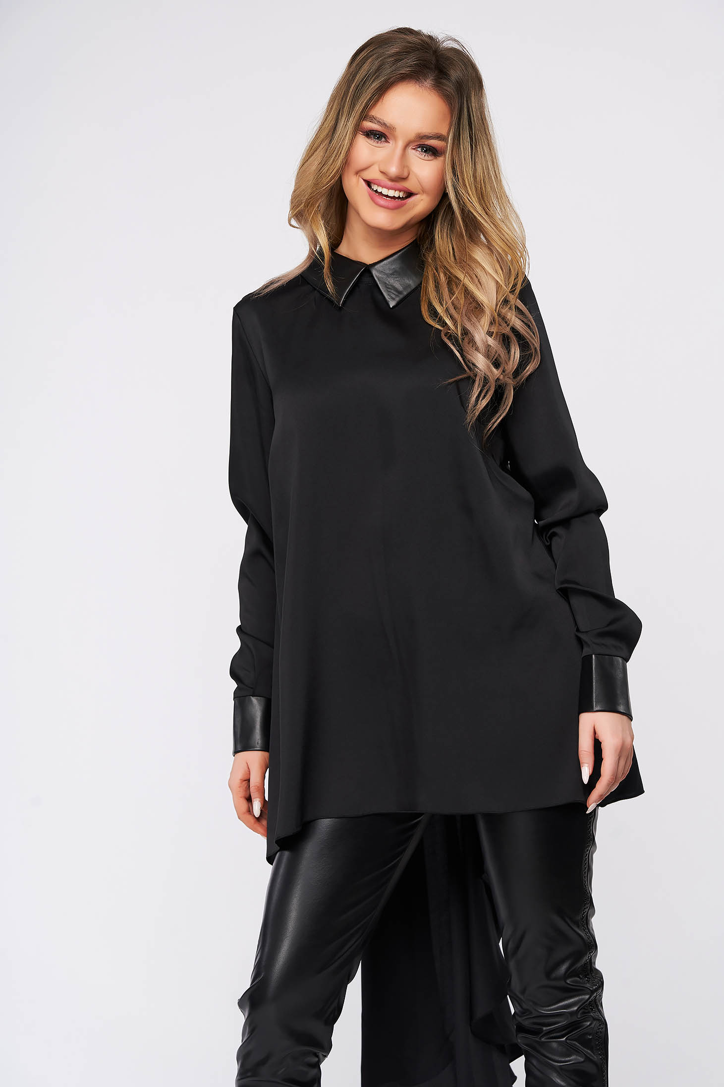 Black women`s blouse with collar long sleeve flared