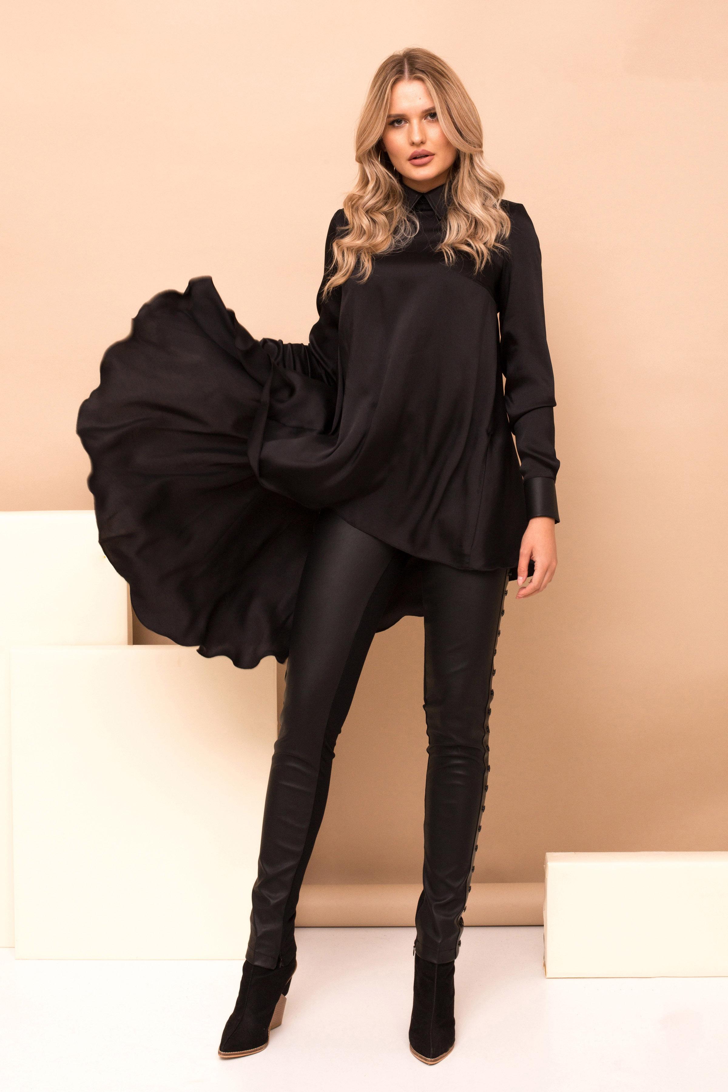 Bluza dama PrettyGirl neagra cu croi larg cu guler si maneca lunga