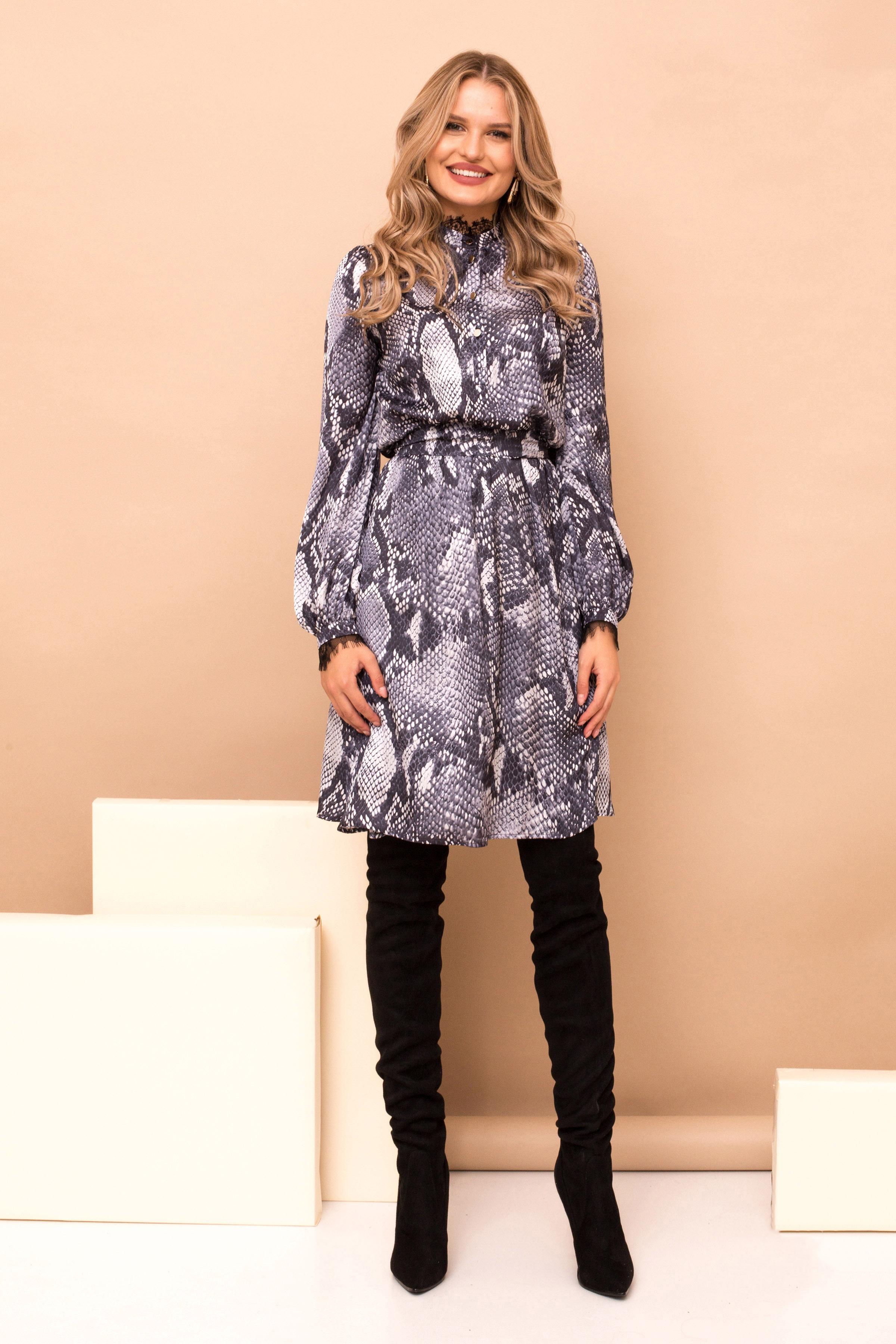 Grey dress elastic waist long sleeve midi cloche