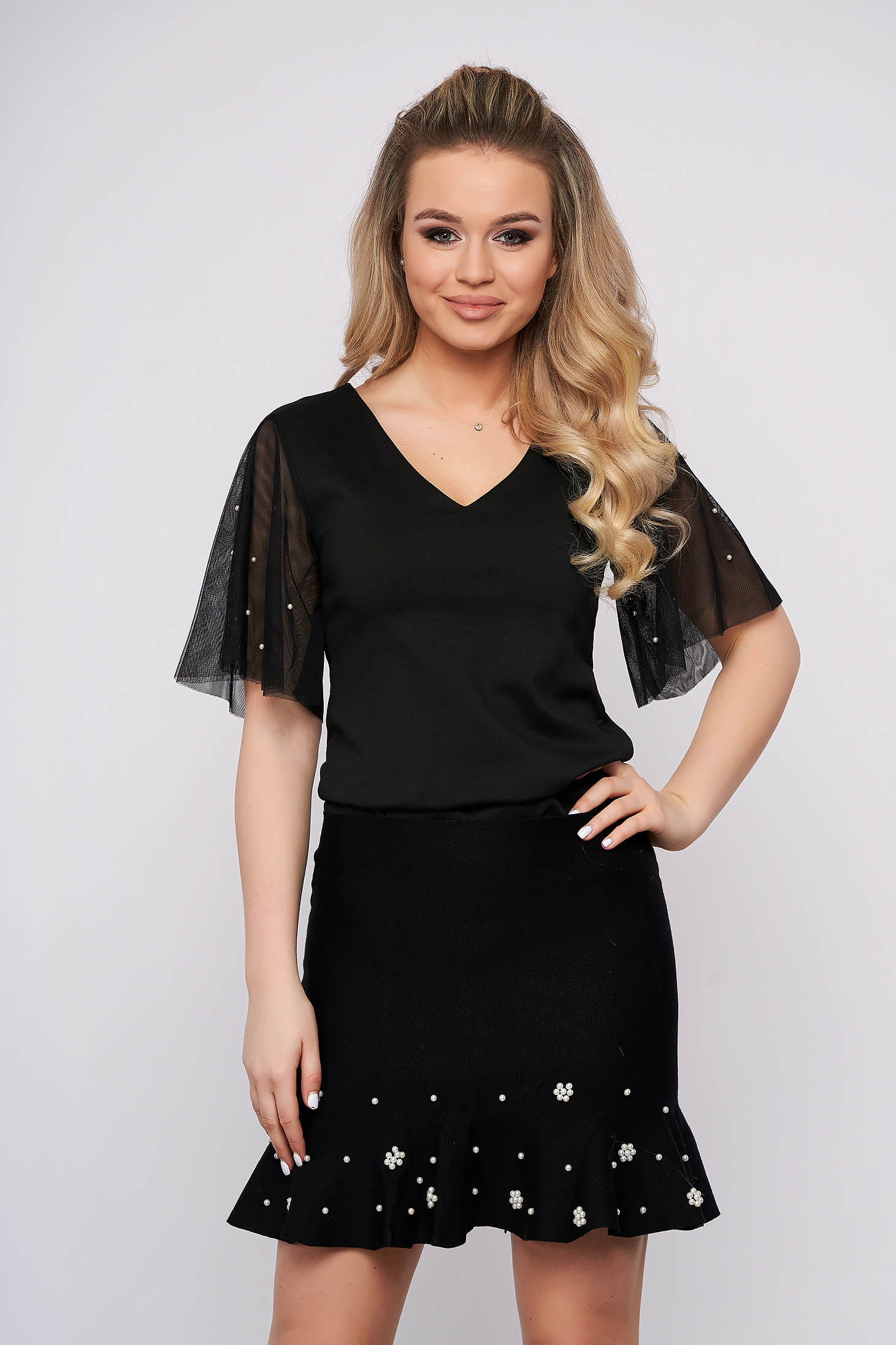 Black women`s blouse clubbing flared short cut with pearls from veil fabric