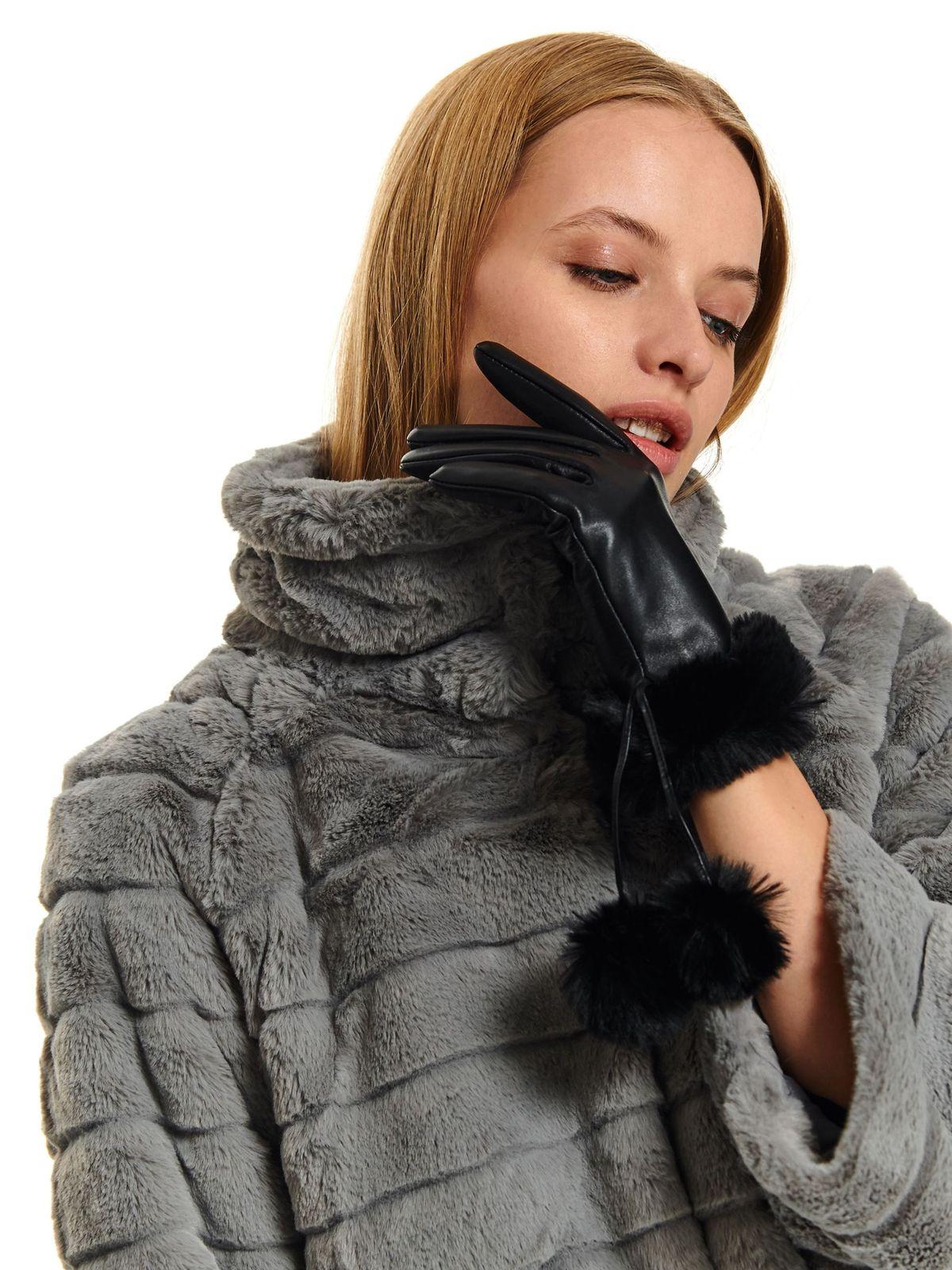 Manusi dama Top Secret negre casual din piele naturala cu ciucuri din blana artificiala