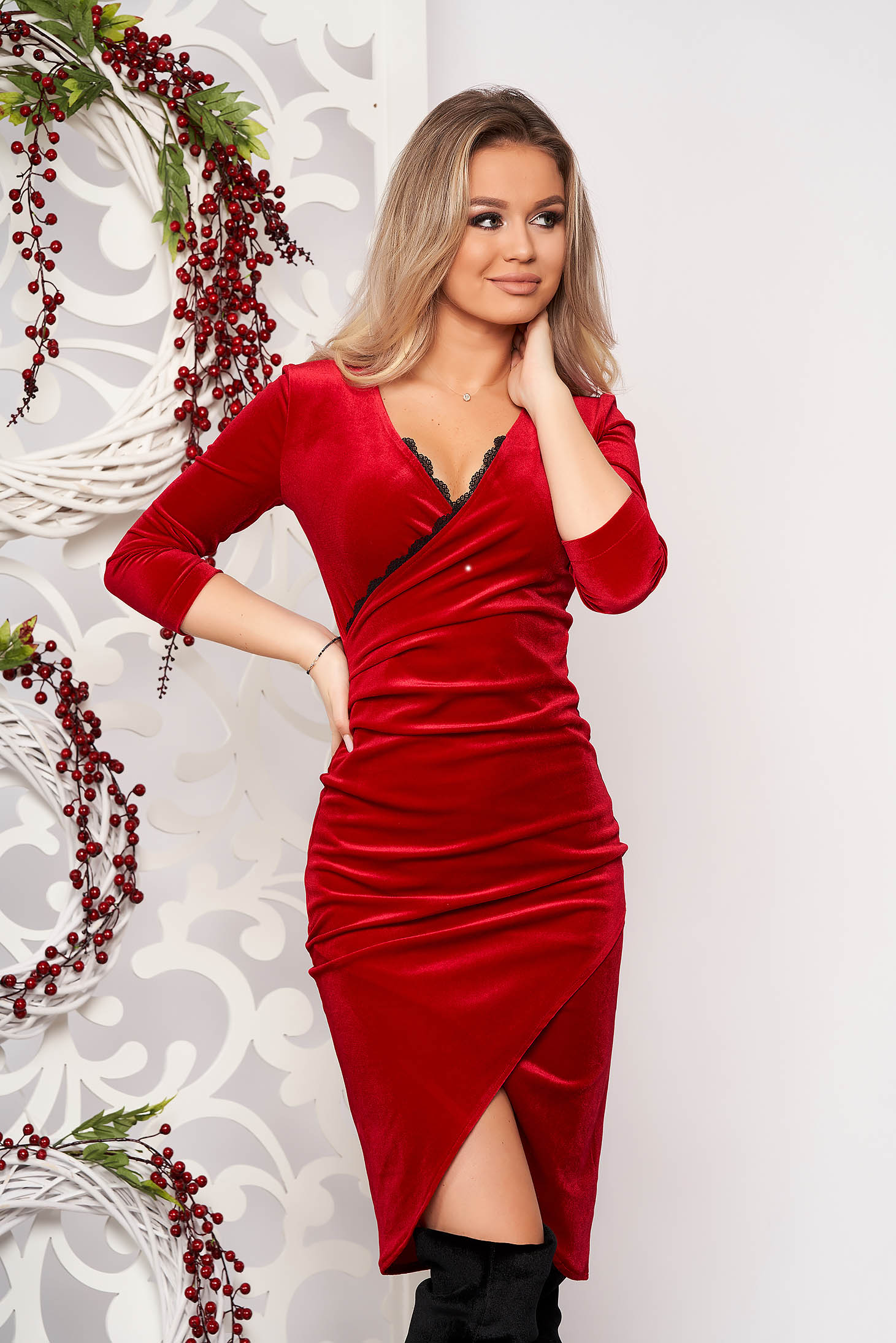StarShinerS red dress occasional elegant midi pencil velvet with lace details with 3/4 sleeves wrap over skirt without clothing