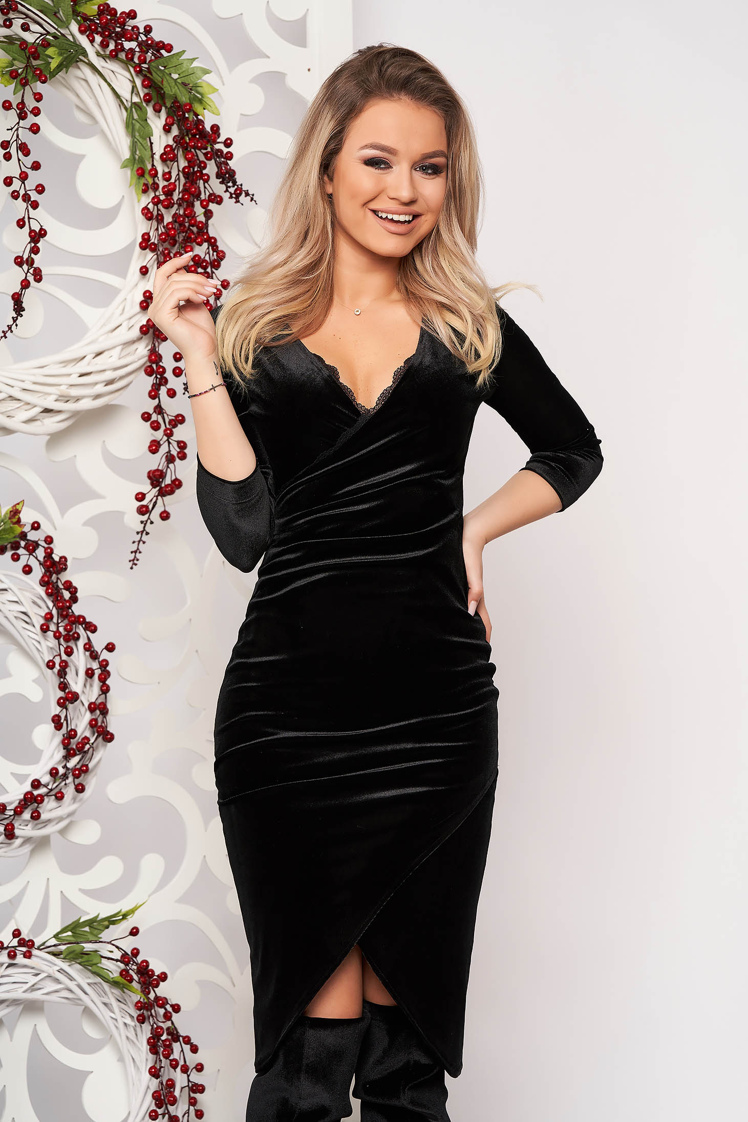 StarShinerS black dress occasional elegant midi pencil velvet with lace details with 3/4 sleeves wrap over skirt without clothing