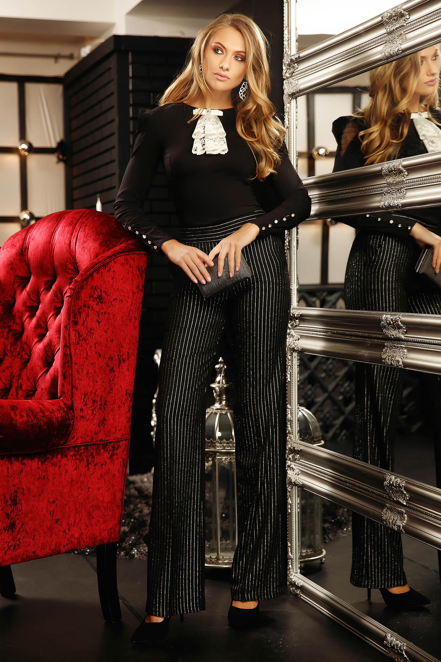 Camasa dama Fofy neagra eleganta cu un croi mulat din bumbac elastic accesorizata cu o fundita