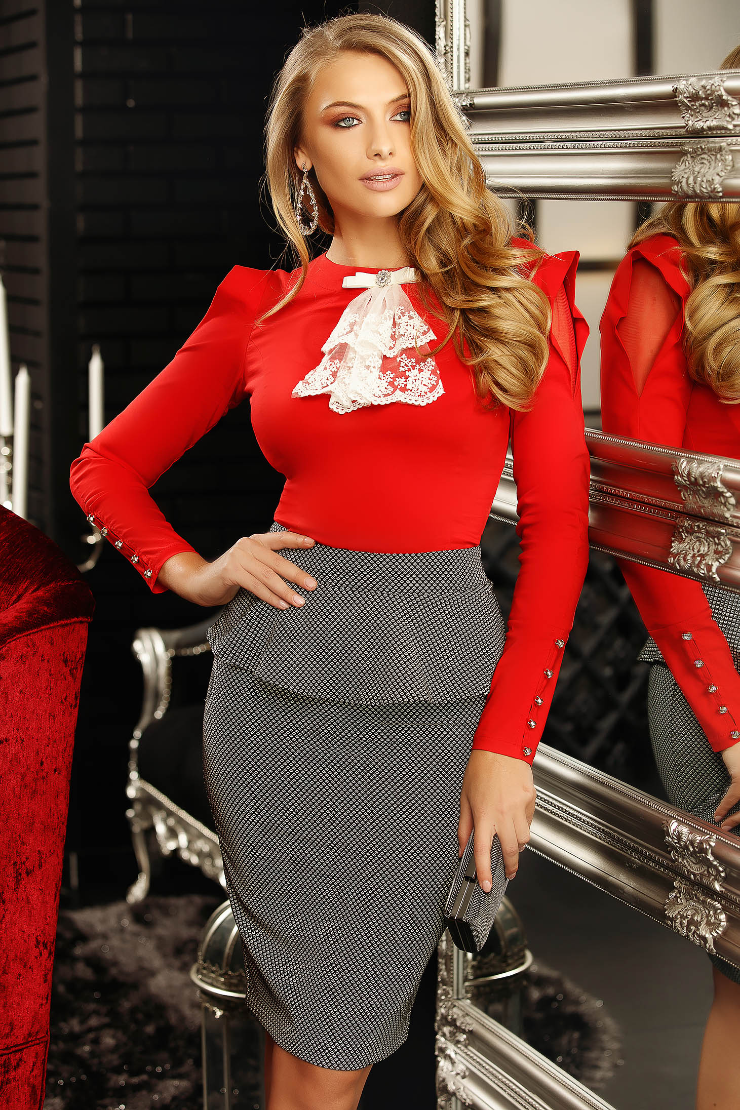 Red elegant women`s blouse with tented cut elastic cotton bow accessory