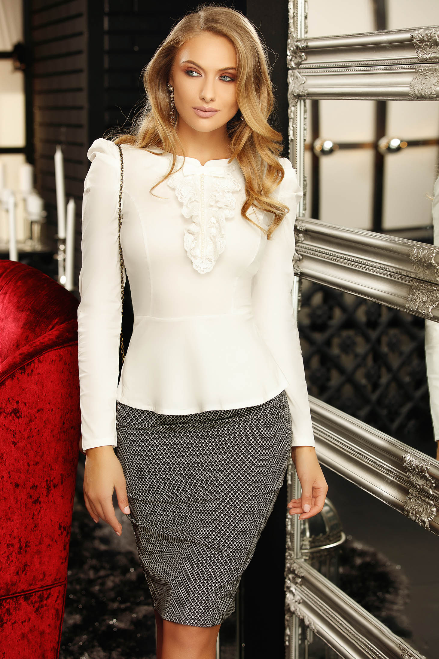 White women`s shirt office with tented cut bow accessory with lace details with pearls