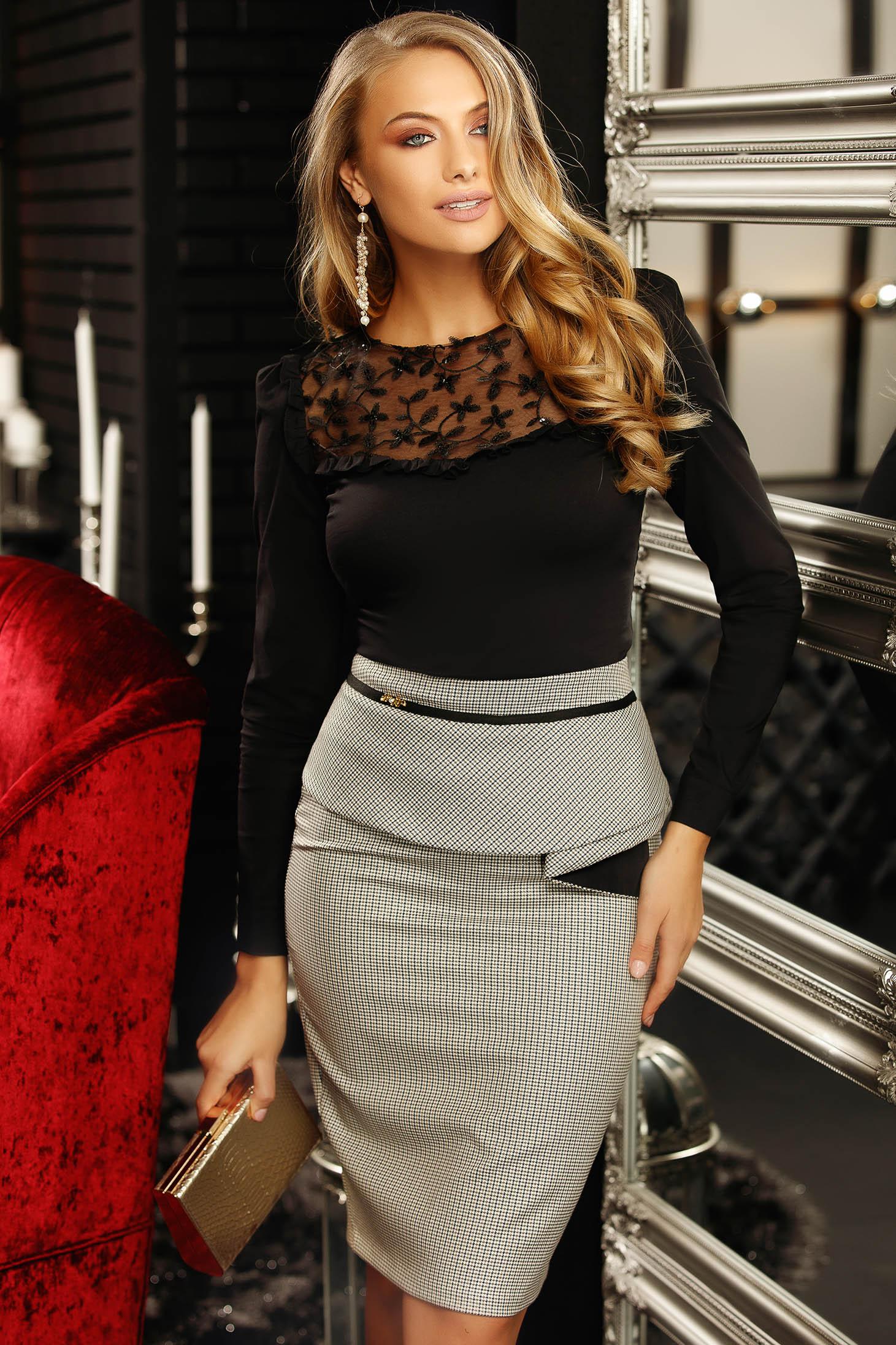Grey office high waisted midi skirt slightly elastic fabric with frilled waist